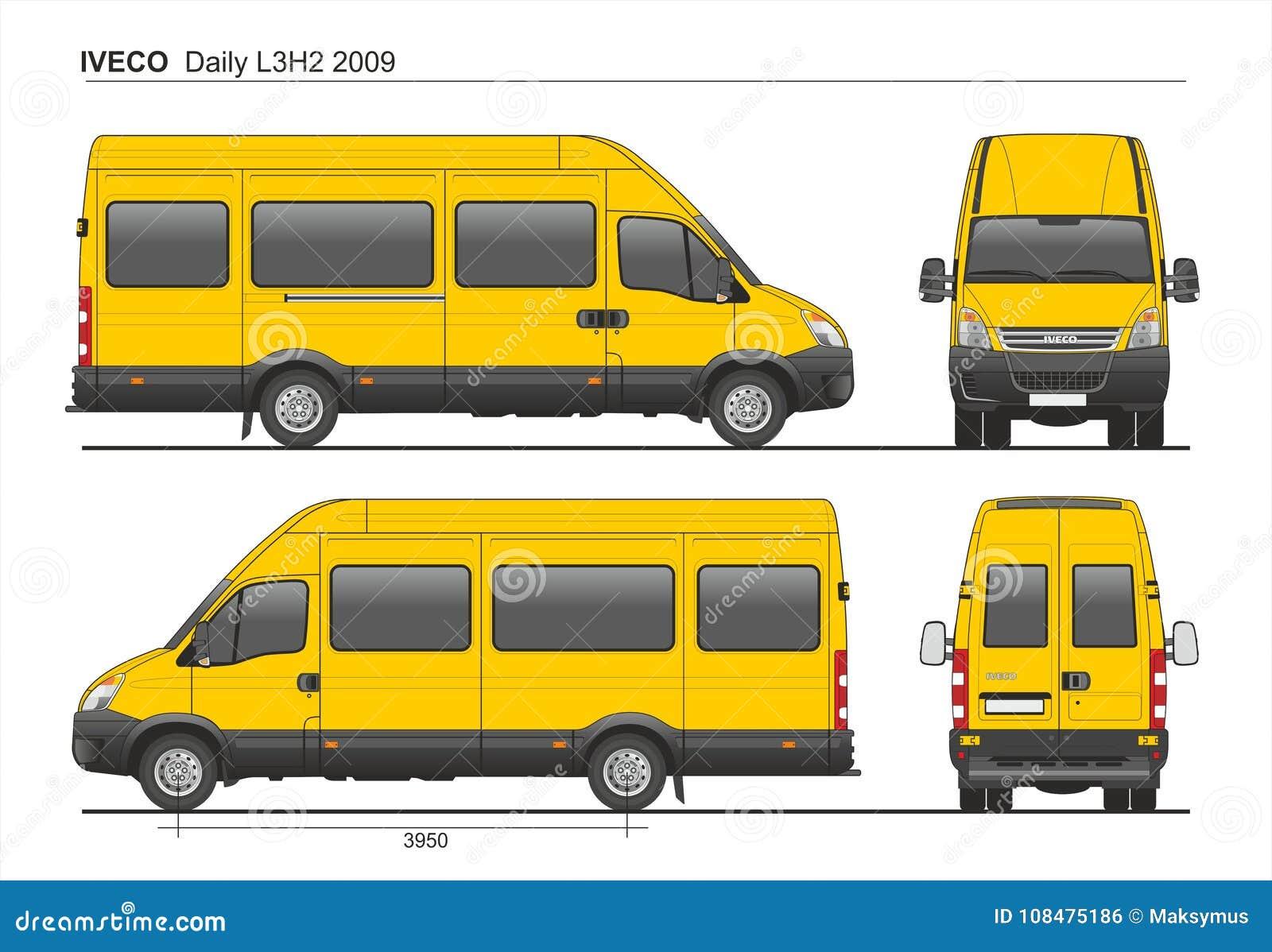 iveco daily l3h2 2009 passenger van editorial photo illustration