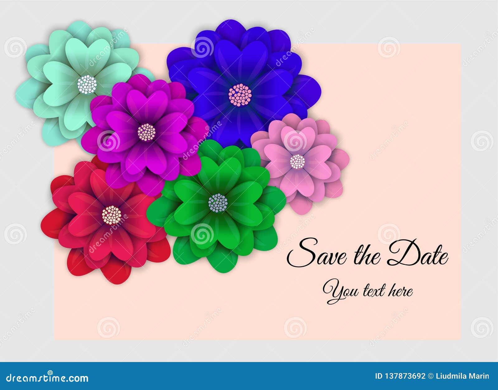 Ivitation avec la fleur dans la couleur de tendance