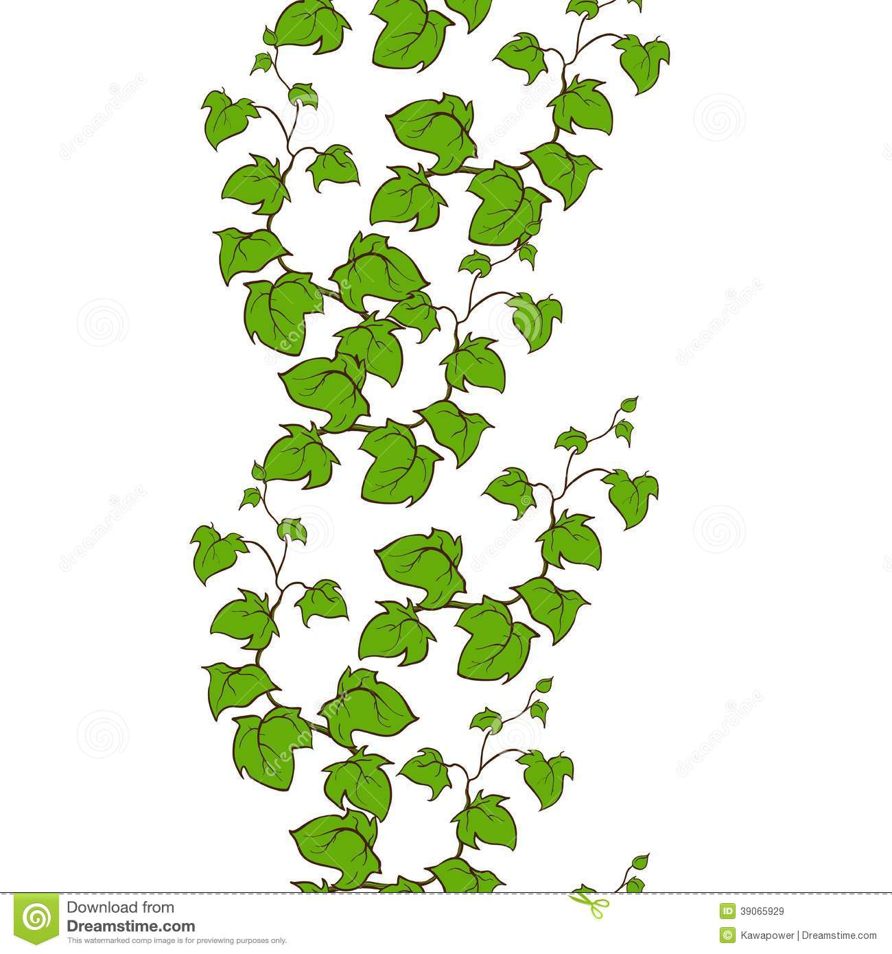 Ivy Vector Hand Drawn Seamless Vertical Pattern Stock Image