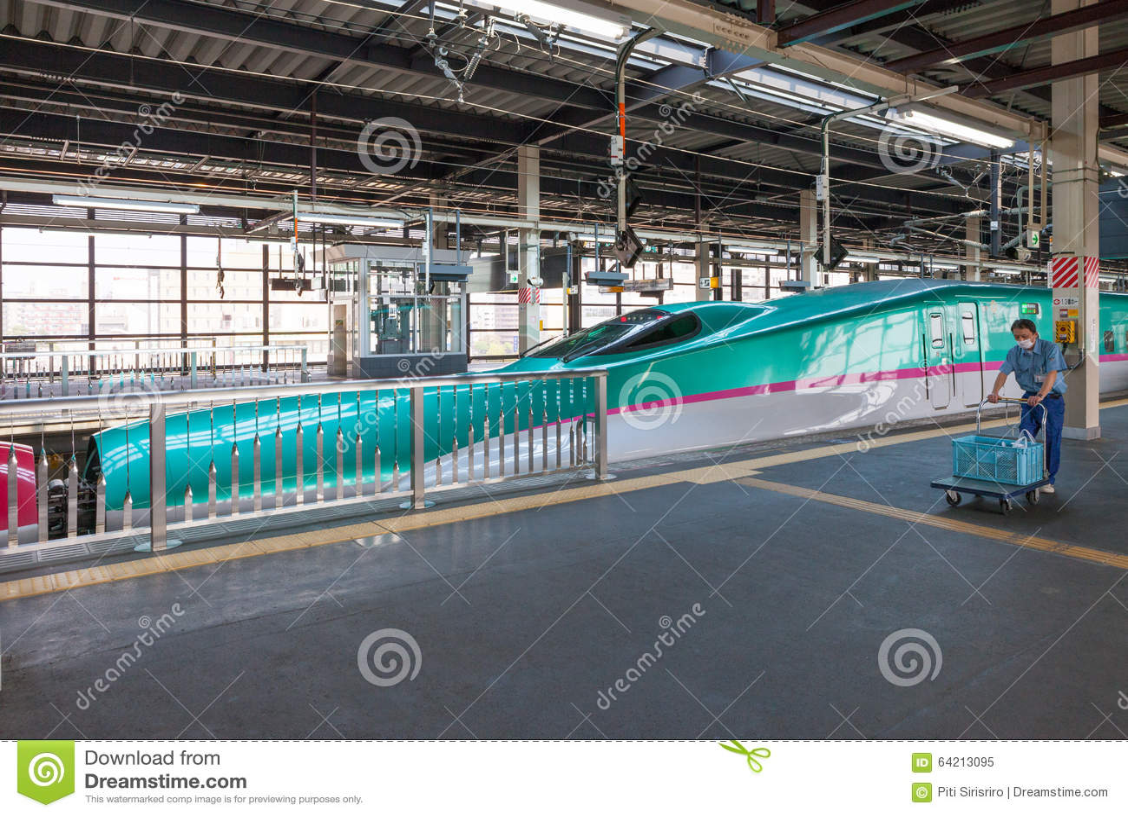 Iwate, Japón - abril 27,2014: Trenes de bala de Shinkansen de la serie E5