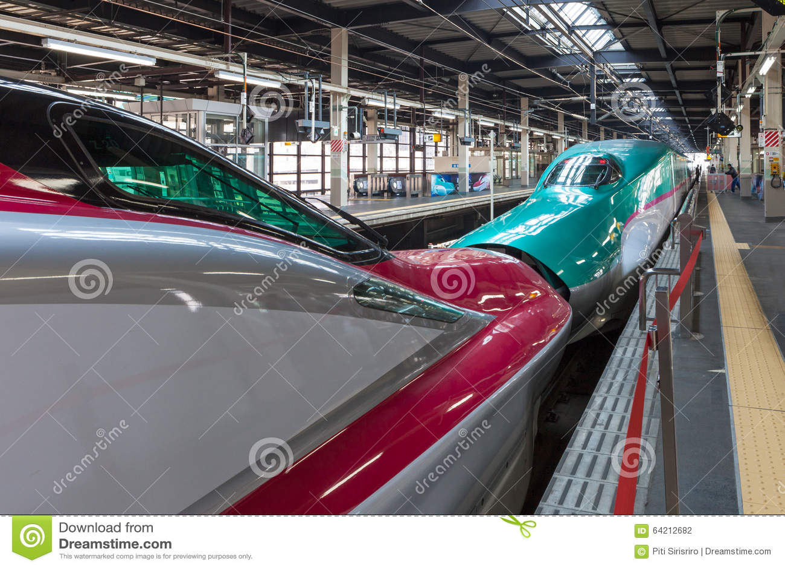 Iwate, Japón - abril 27,2014: Trenes de bala de Shinkansen de la serie E5 y E6