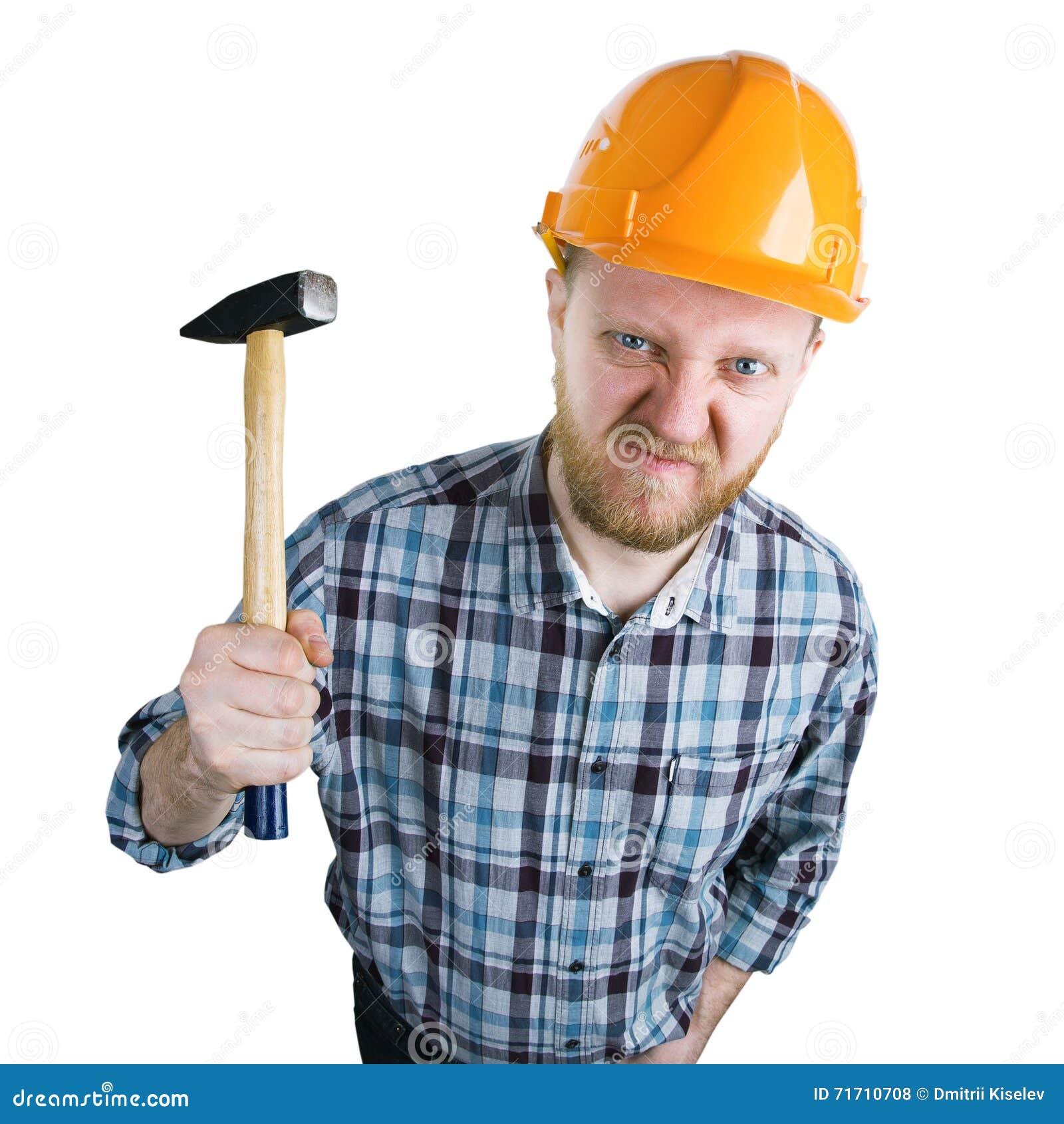 Iwith irritado do construtor um martelo