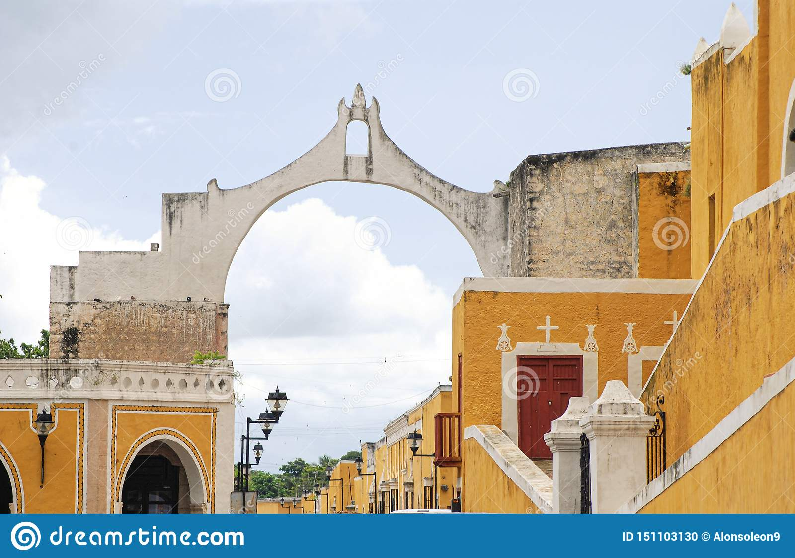 Street view of Izamal the yellow town in Yucatan Mexico.