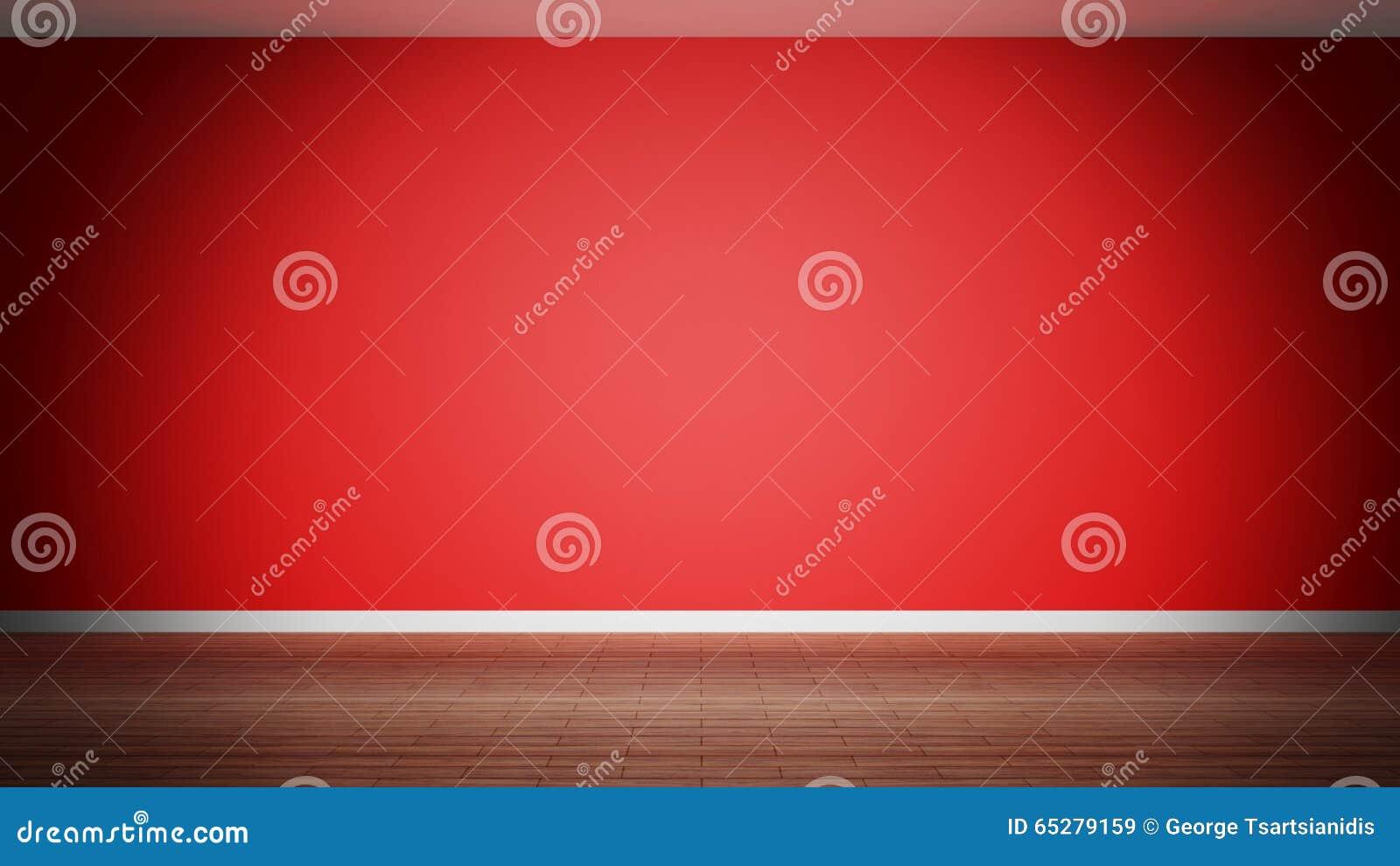 Izbowy wnętrze, pusta czerwieni ściana
