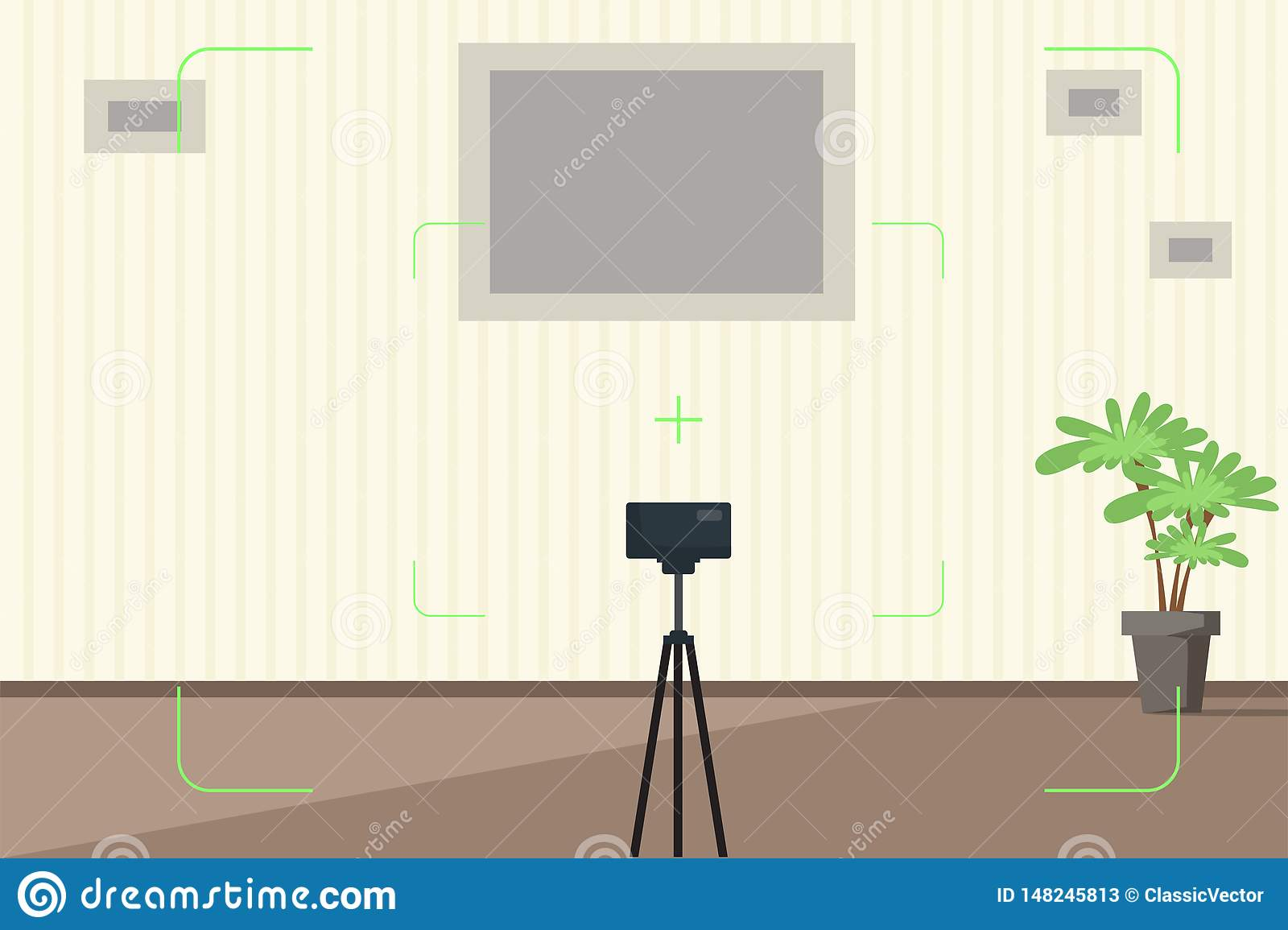 Izbowy wnętrze z kamery viewfinder ilustracją