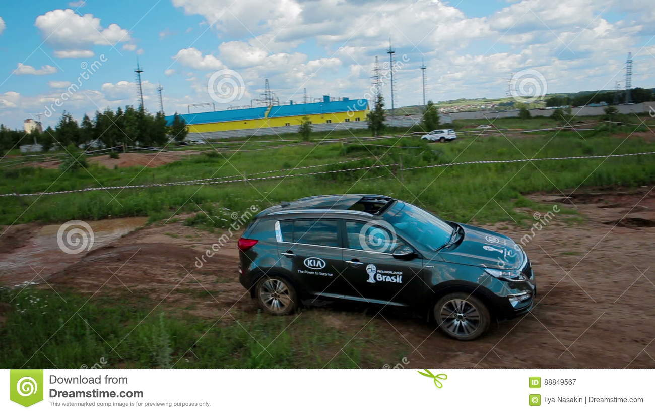 IZHEVSK, RUSSIA   JUNE 22, 2014: Aerial View Kia Sportage At Offroad Test  Drive Stock Video   Video Of Four, Premium: 88849567