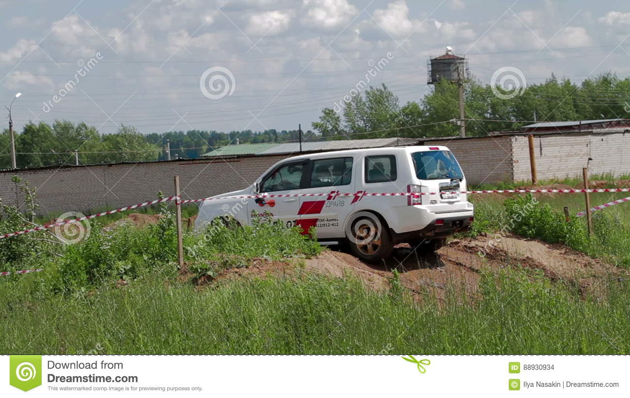 IZHEVSK, RUSSIA   JUNE 22, 2014: Honda Pilot At Offroad Test Drive Stock  Footage   Video Of Display, Land: 88930934