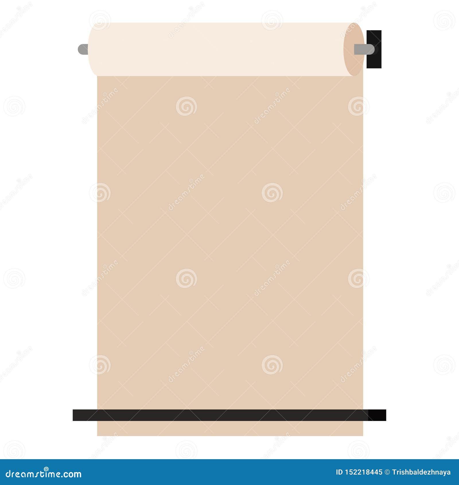 Izoluje wspinającego się Kraft papier stacza się w górę aptekarki odizolowywającej na białym tle, Wektorowego przedstawienie poka