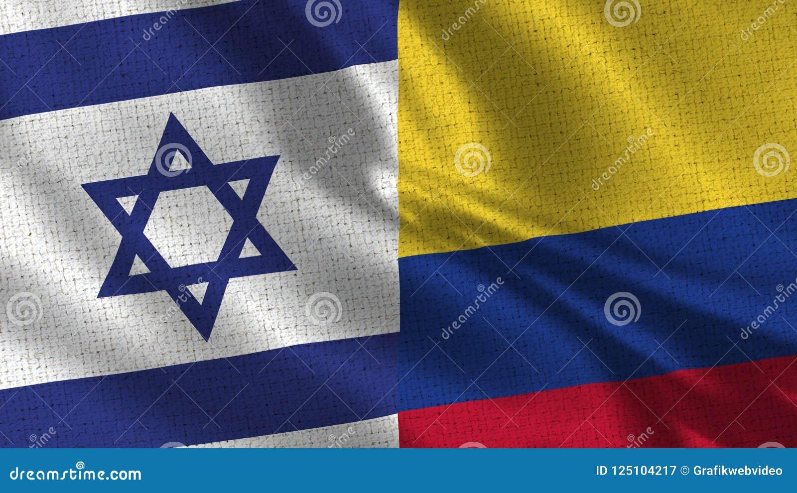 Izrael i Kolumbia flaga - Dwa flaga Wpólnie