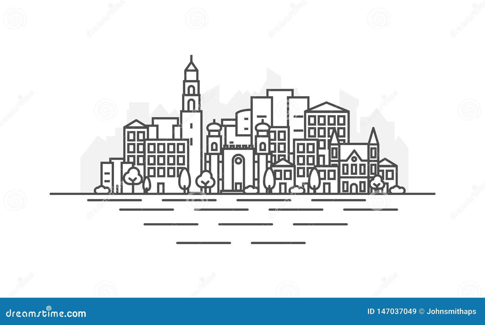 Izrael, Jaffa w Tel Aviv miasta architektury linii linia horyzontu ilustracji Liniowy wektorowy pejza? miejski z s?awnymi punktam