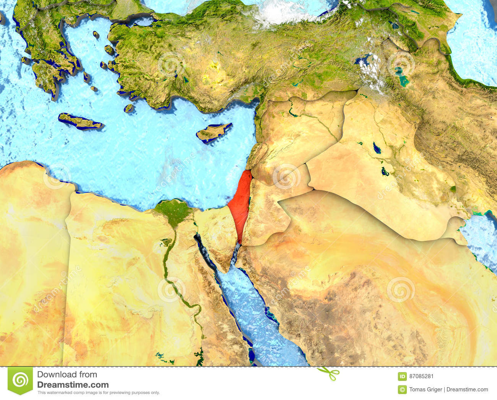 Izrael na mapie z chmurami