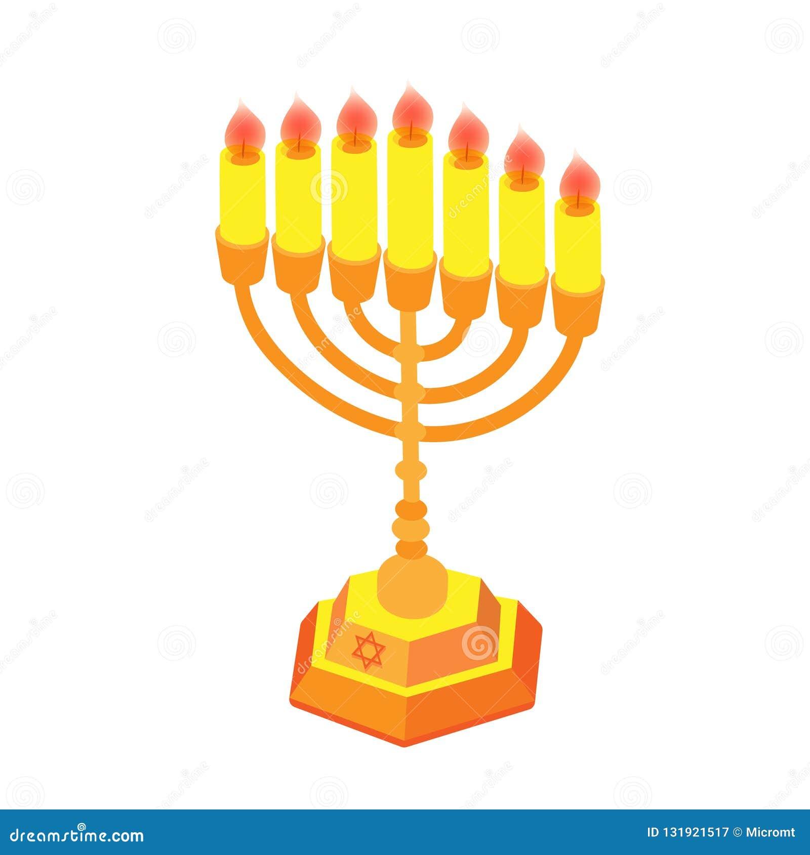 Jánuca de oro con las velas o el menorah Ejemplo plano isométrico, aislado