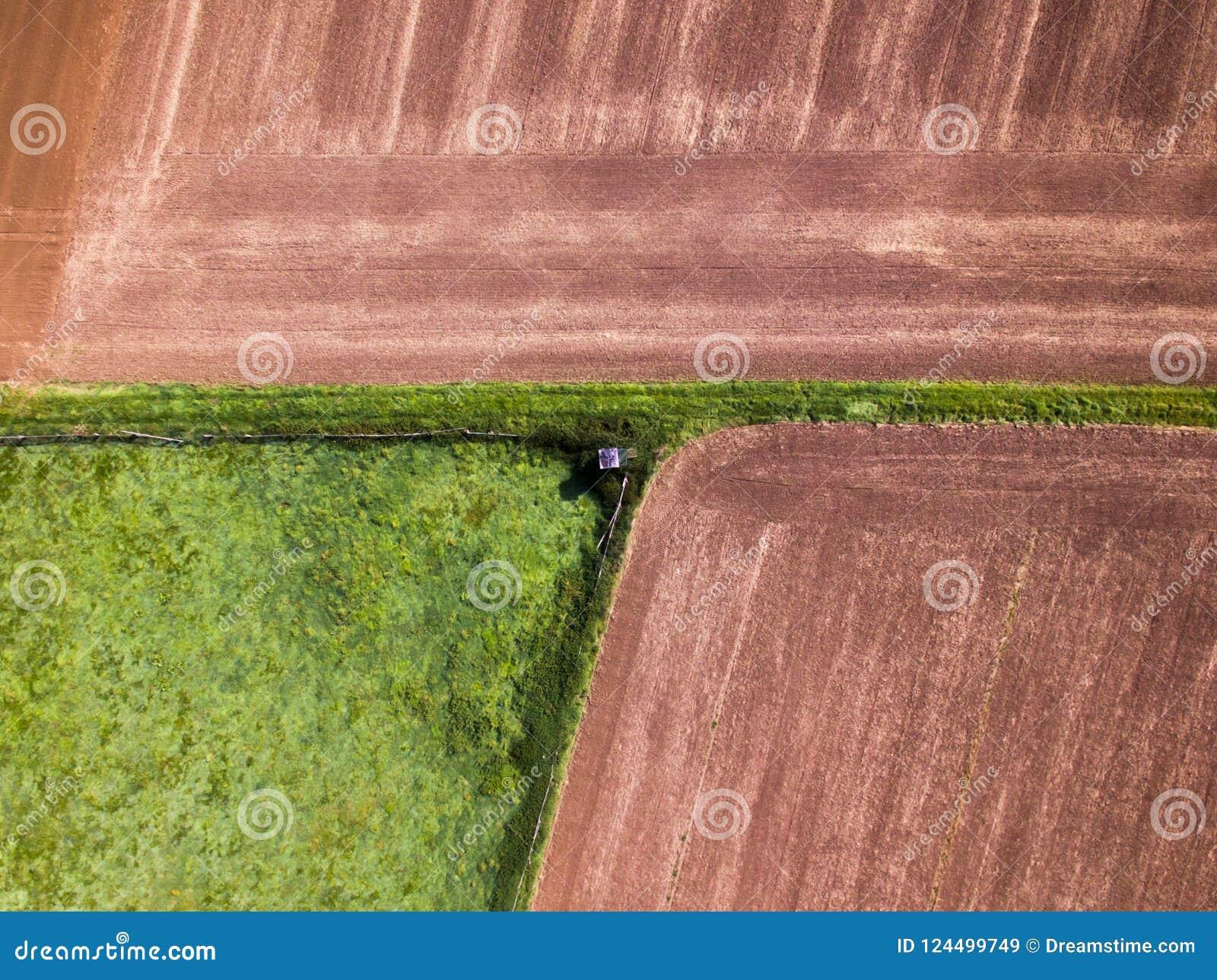 Jägarekoja bredvid fält från en flyg- sikt