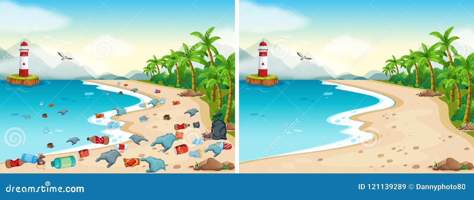 Jämförelse av den smutsiga och rena stranden