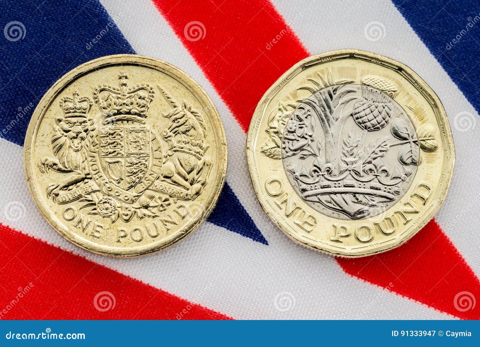 Jämförelse av gamla och nya mynt för brittiskt pund svanar