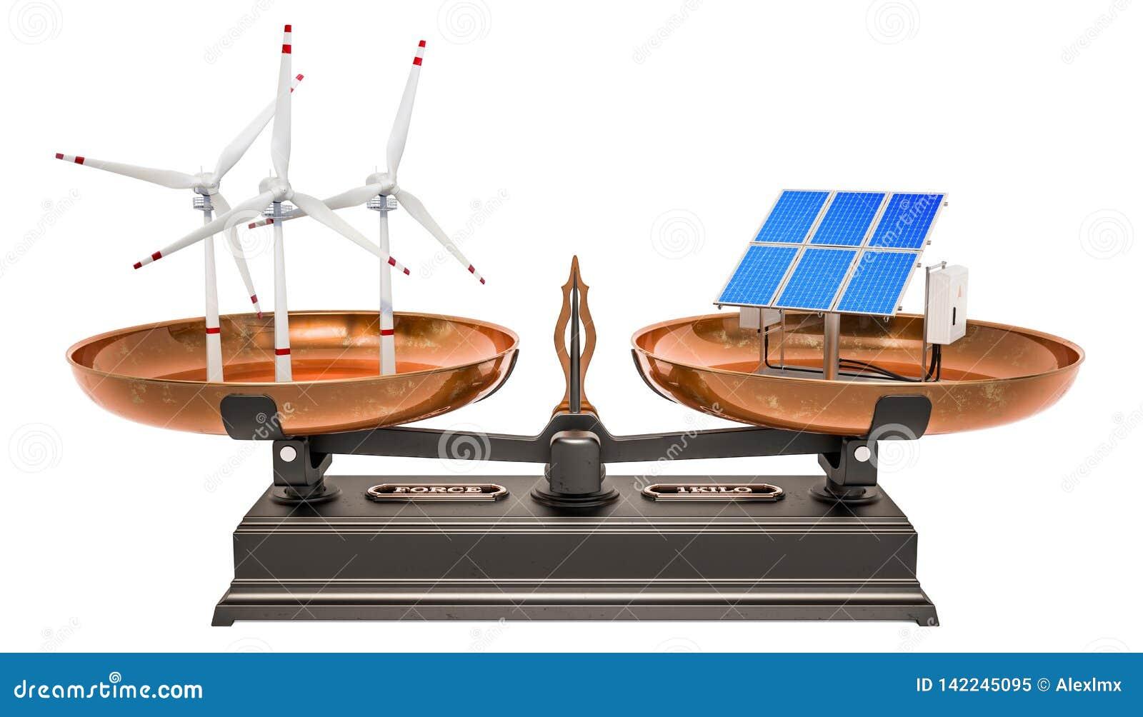 Jämviktsbegrepp, solpaneler eller vindturbiner framförande 3d