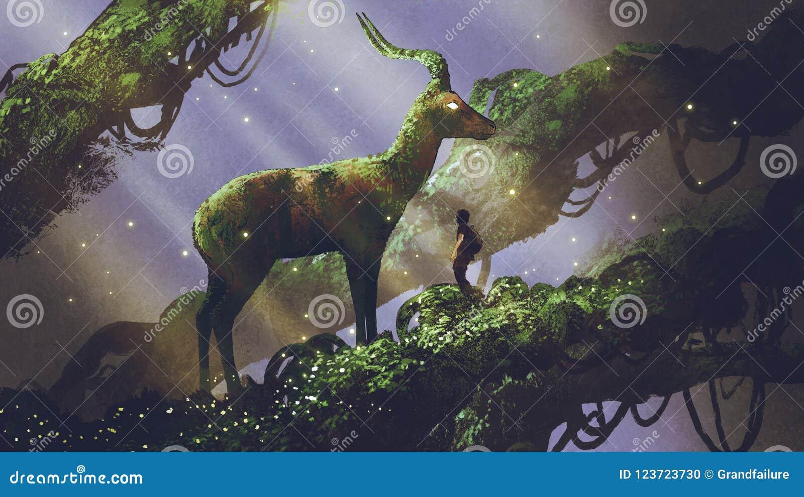 Jätte- hjortstaty i skog