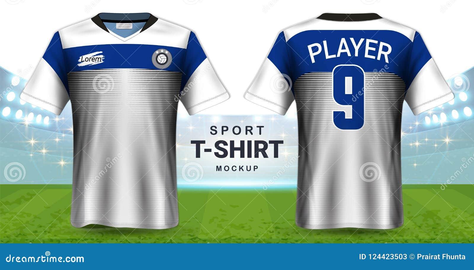 Jérsei de futebol e molde do modelo do t-shirt do Sportswear, opinião dianteira e traseira de projeto gráfico realístico para o f