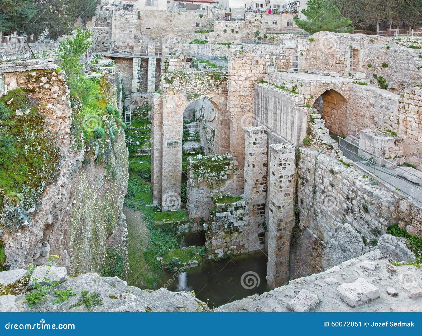 J rusalem les ruines de la piscine de bethesda image for Piscine de bethesda