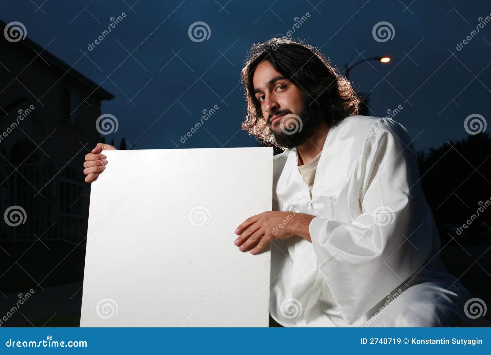 Jésus retenant un signe blanc