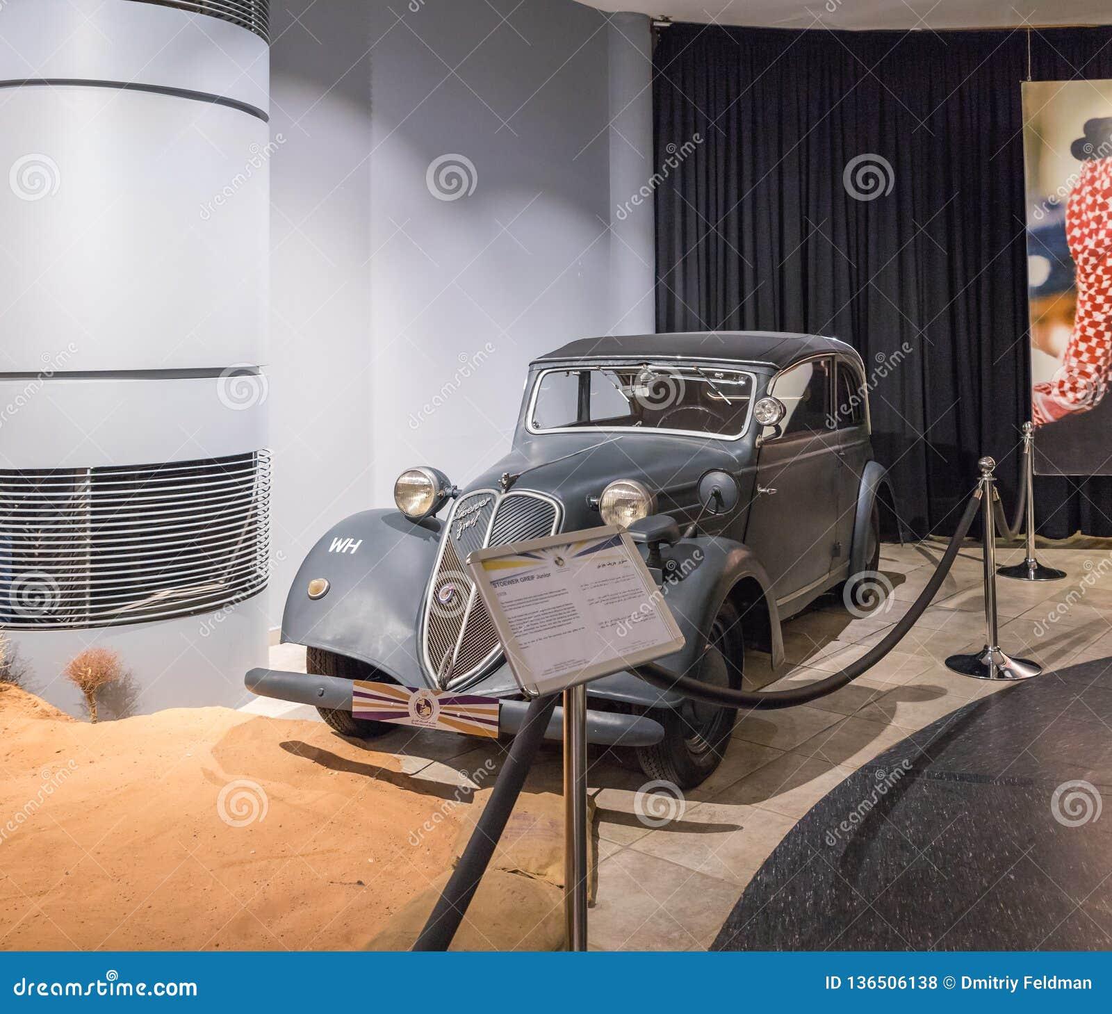 Júnior 1938 do sofrimento de Stoewer na exposição no museu em Amman, a capital do carro do rei Abdullah II de Jordânia