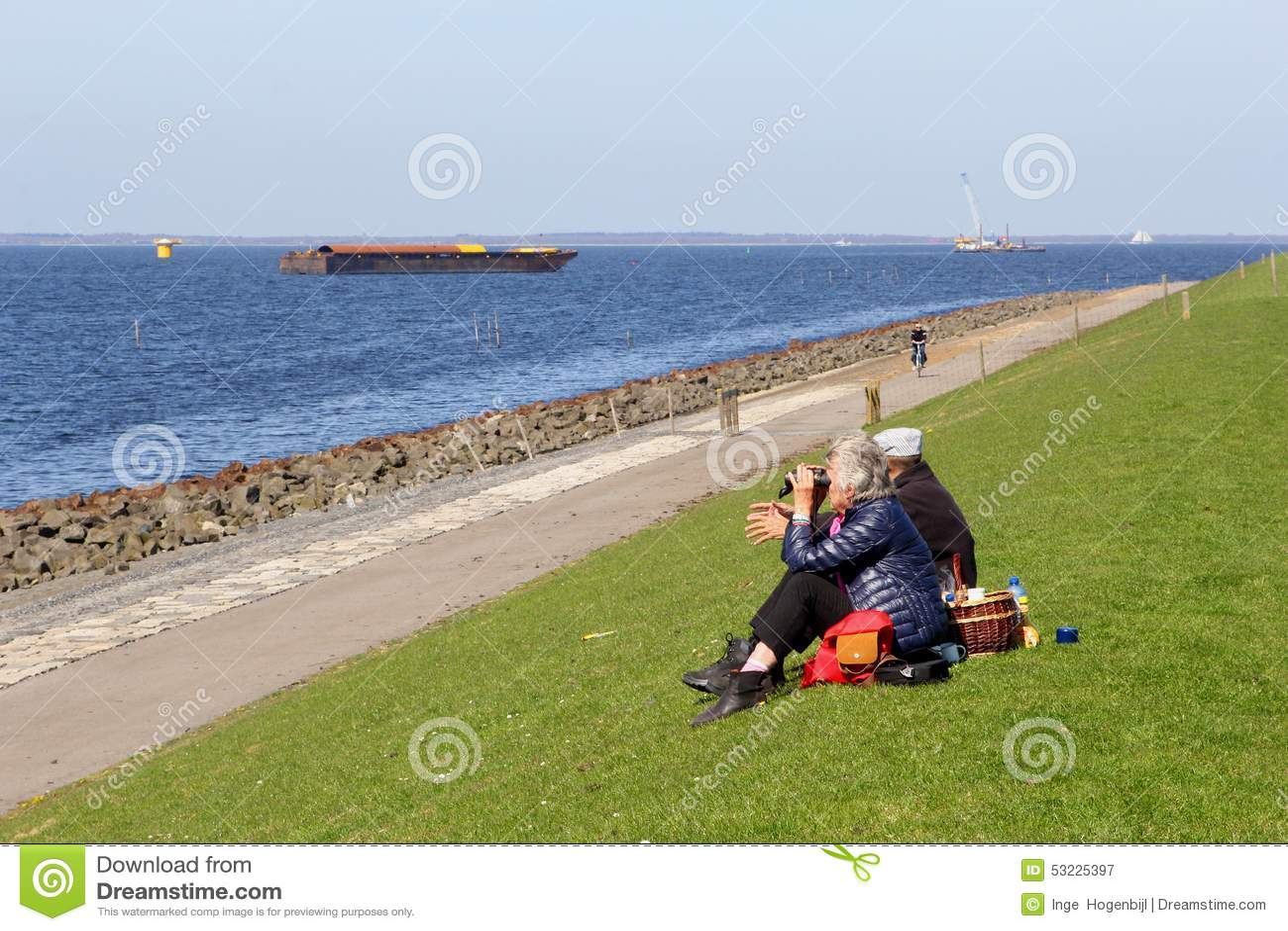 Júntese tiene un picknick y disfruta de la visión en el IJsselmeer, Países Bajos