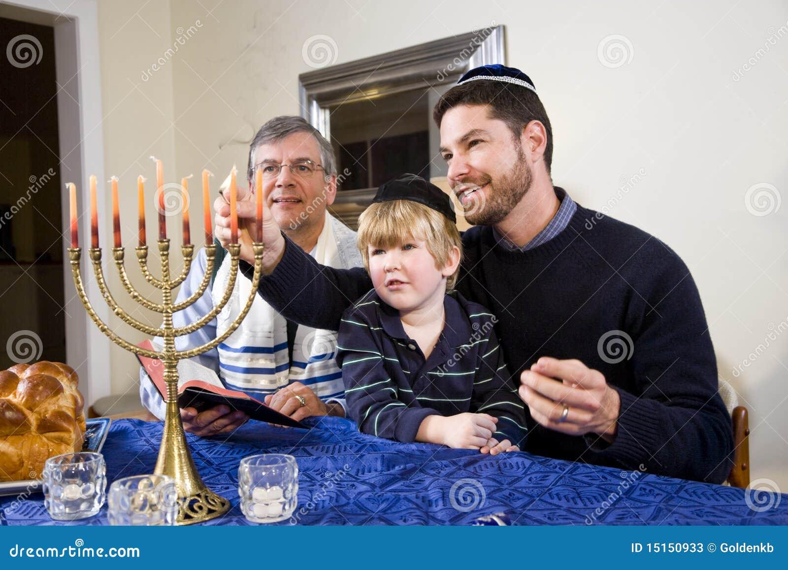 Jüdisches Familienbeleuchtung Chanukah menorah