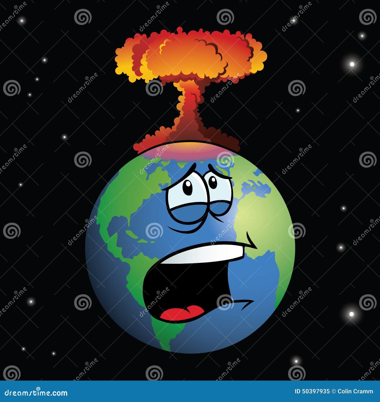 Jądrowa broń wybucha na kreskówki ziemi