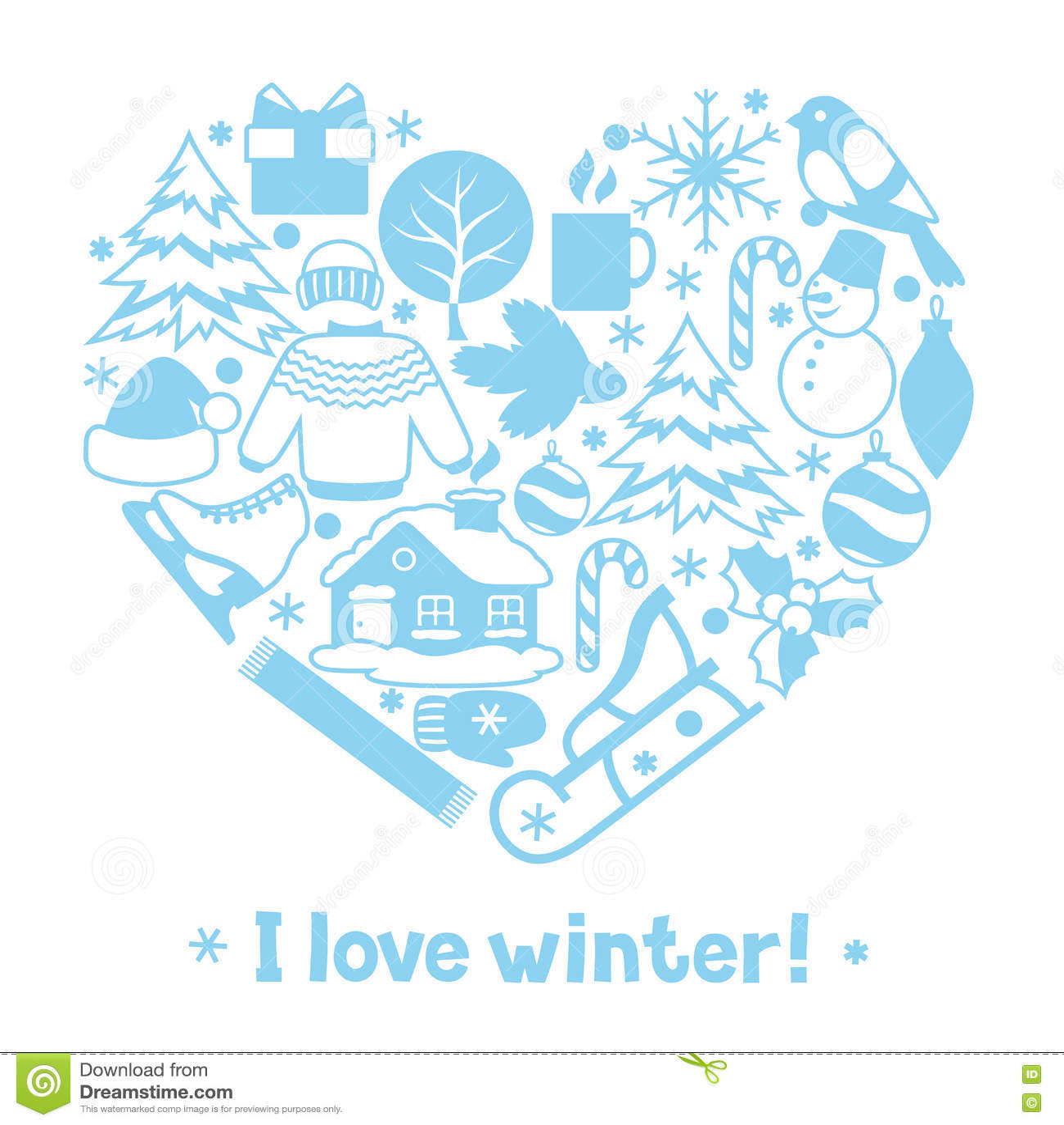 J aime l hiver Articles de vacances de Joyeux Noël, de bonne année et symboles
