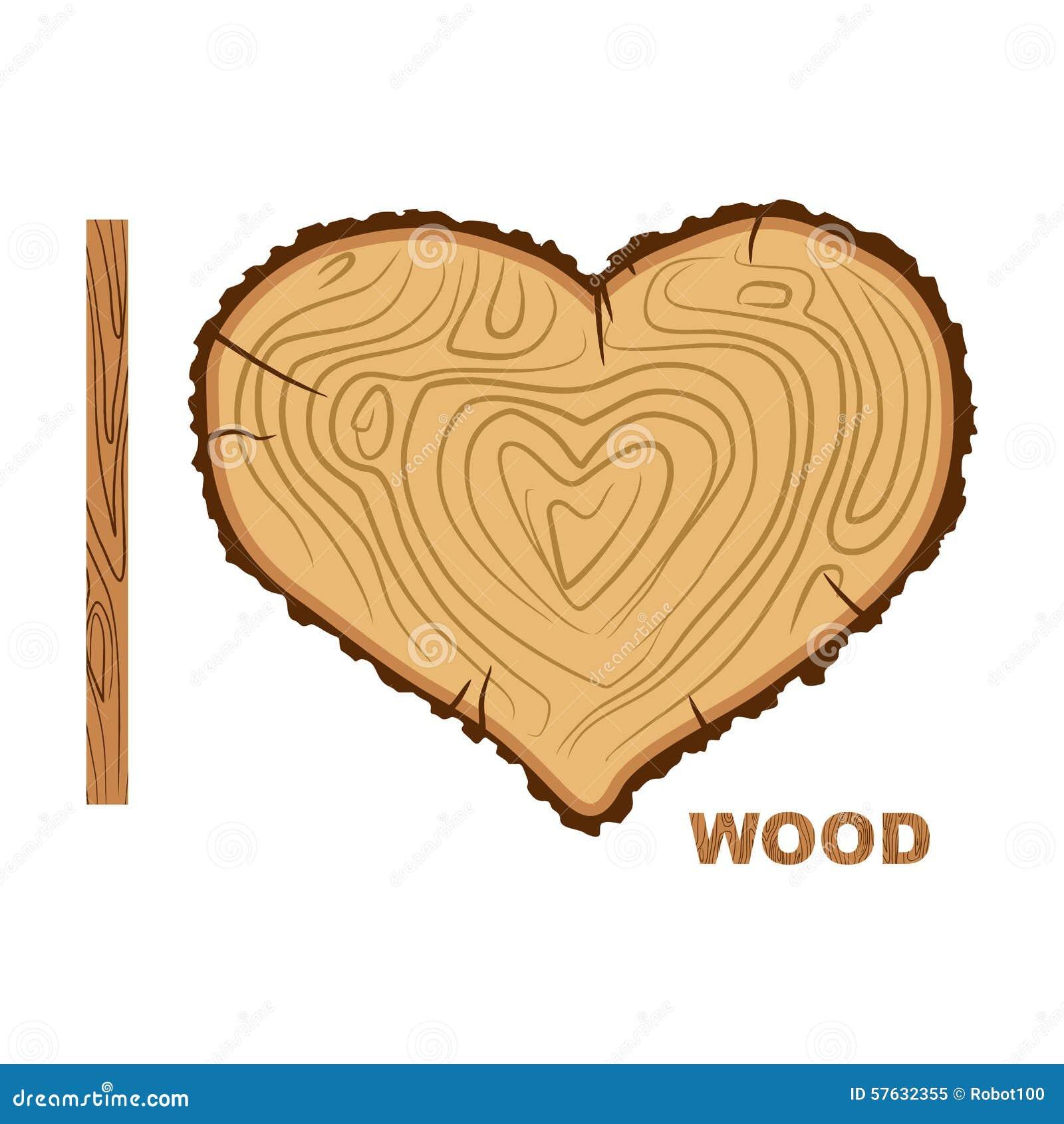 j 39 aime le bois arbre de coupe comme symbole de coeur illustrat de vecteur illustration de. Black Bedroom Furniture Sets. Home Design Ideas