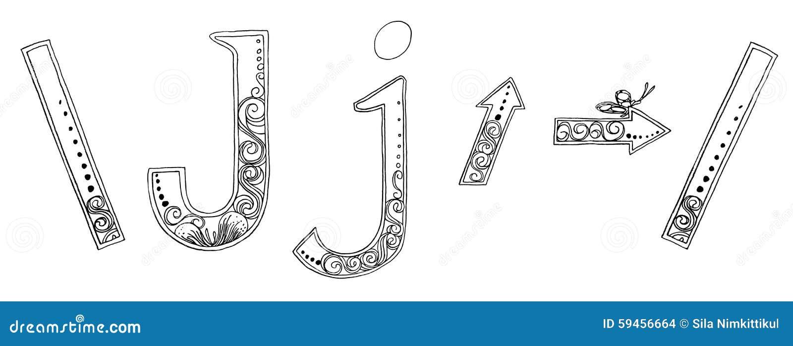 J Arrow Symbol Venda Freehand Pencil Sketch Font Stock Illustration
