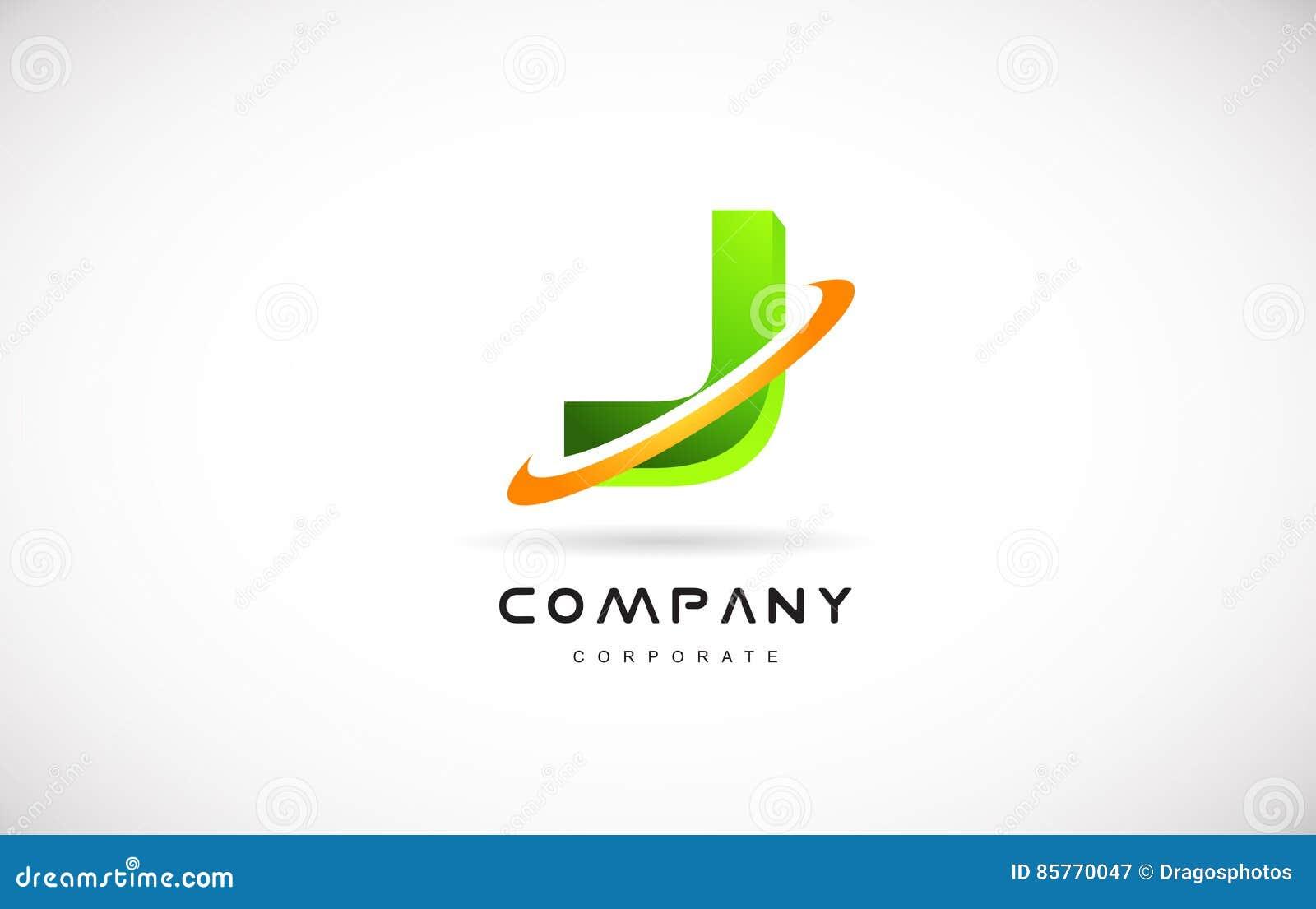 j company logo green letter alphabet 3d design template