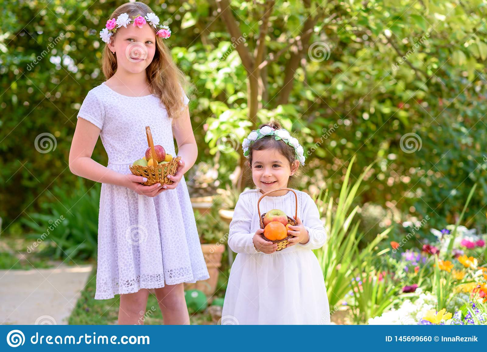 J?discher Feiertag Shavuot Kleine M?dchen HarvestTwo im wei?en Kleid h?lt einen Korb mit frischer Frucht in einem Sommergarten