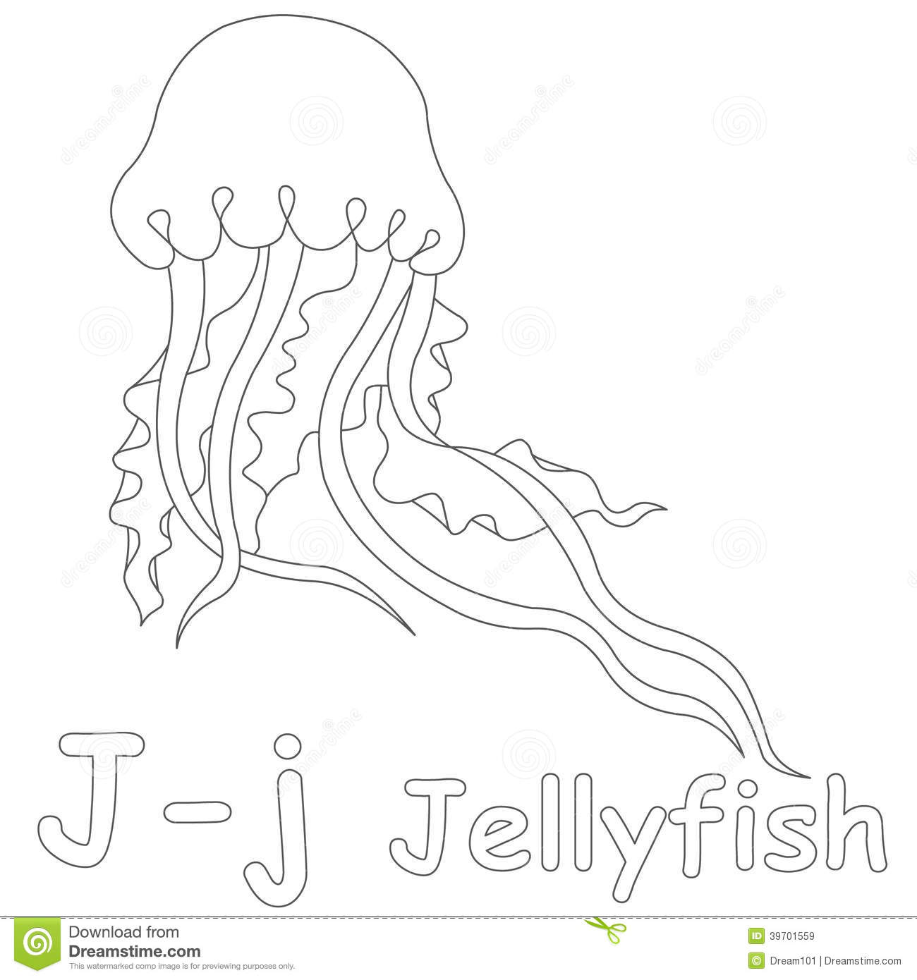 J For Jellyfish Coloring Page Stock Illustration