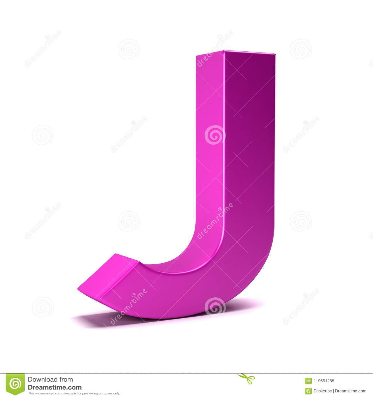 Letter J Initial Girl Pink Color. 3D Render Illustration Stock ...