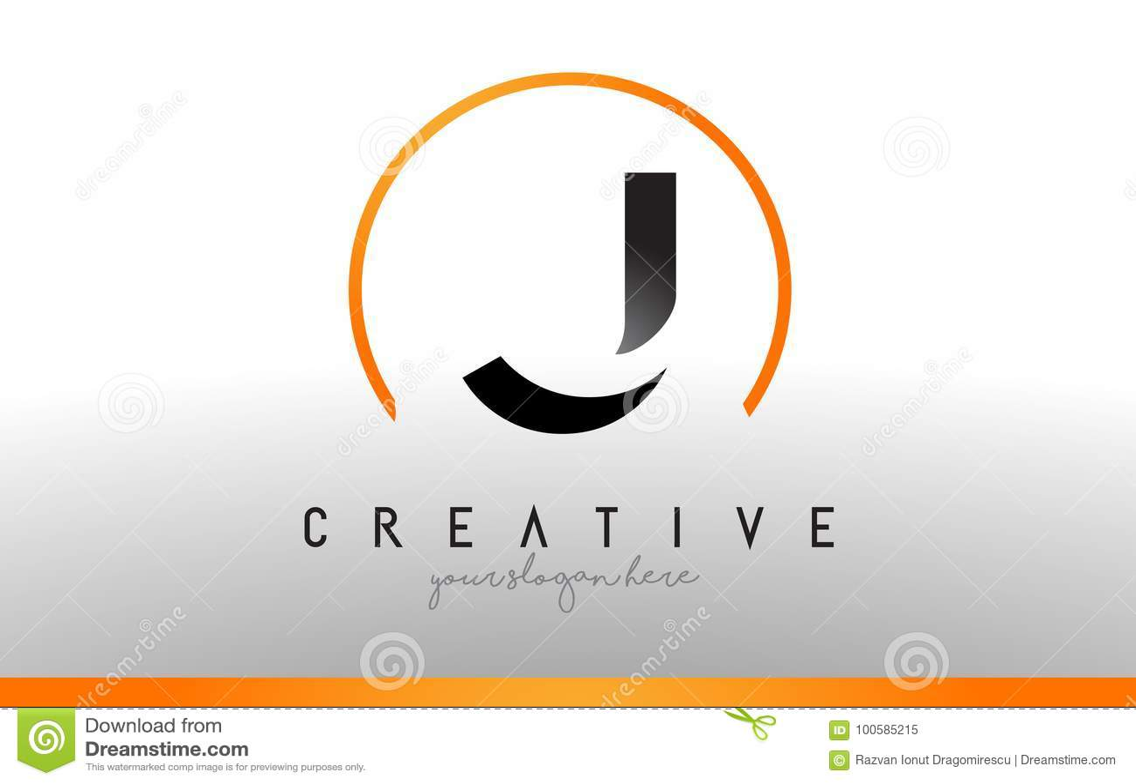 J Letter Logo Design With Black Orange Color Cool Modern Icon T