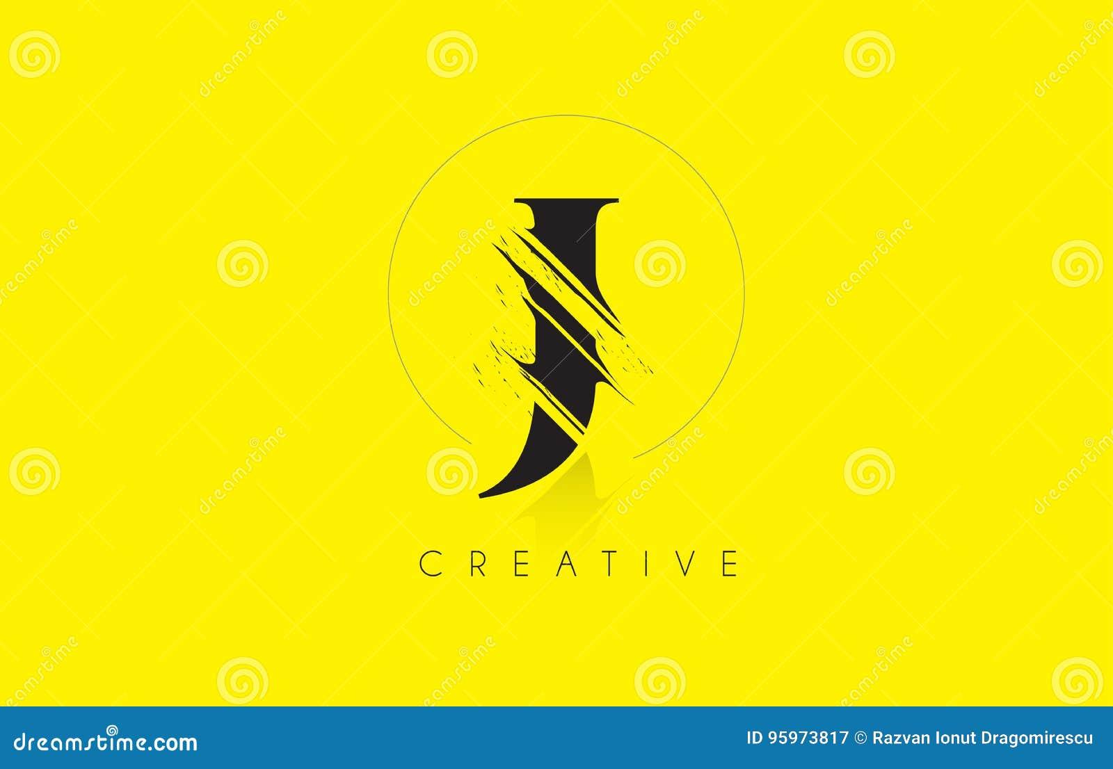 J Letter Logo With Vintage Grundge Drawing Design Destroyed Cut