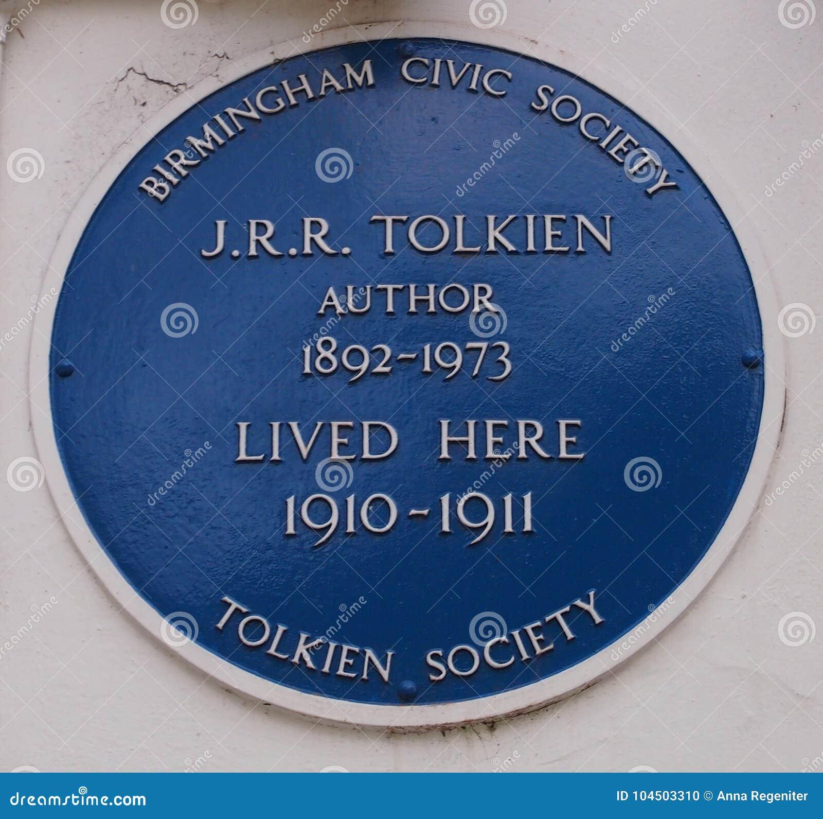 J r r Tolkien blauwe plaque in Birmingham, Engeland