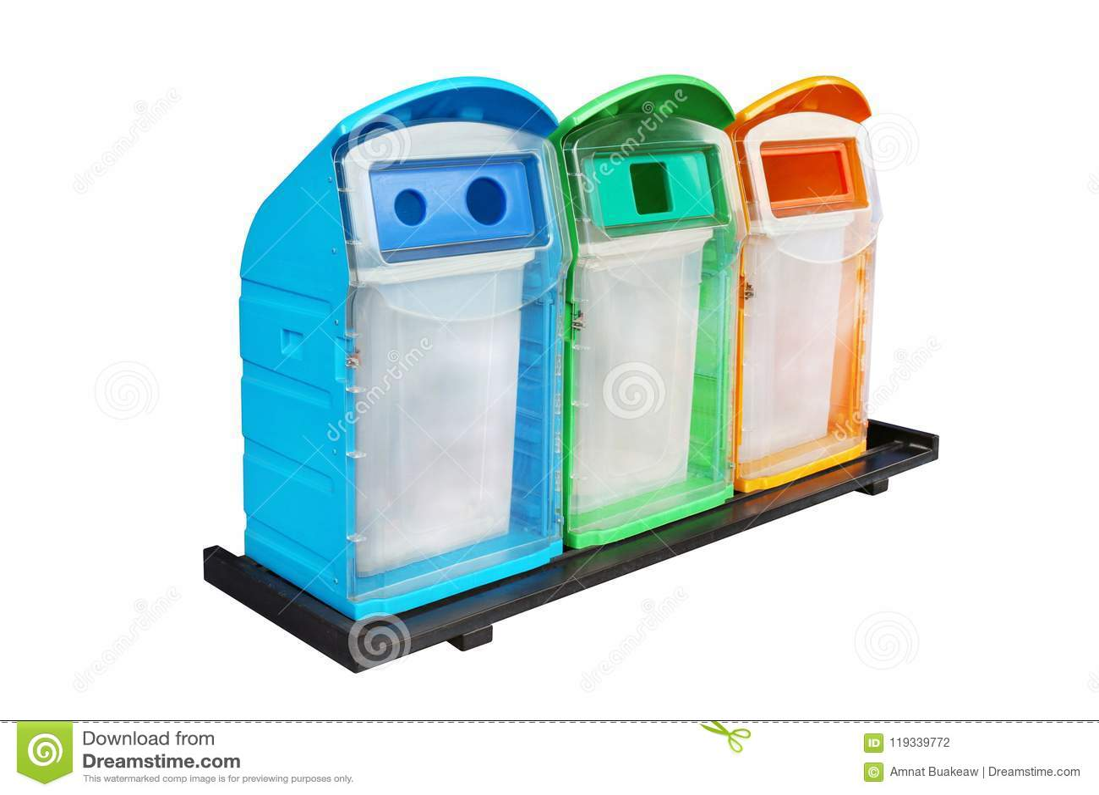 Jałowy kosz, Trzy kolorowy przetwarza kosza klingerytu odpady, Stubarwni Śmieciarscy kosz na śmieci, Przetwarza kosz, Śmieciarski