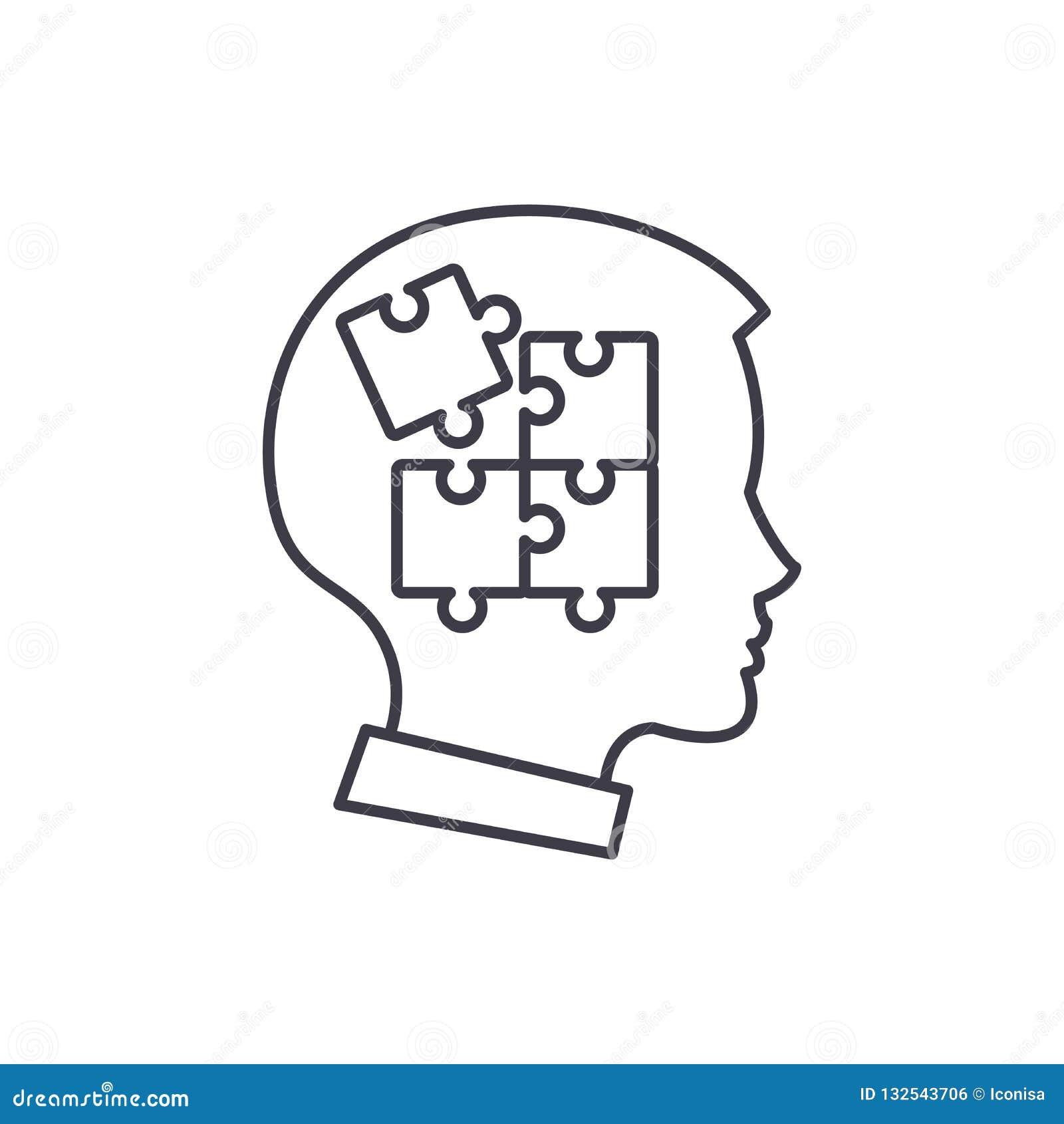 Jaźni dyscypliny linii ikony pojęcie Jaźni dyscypliny wektorowa liniowa ilustracja, symbol, znak