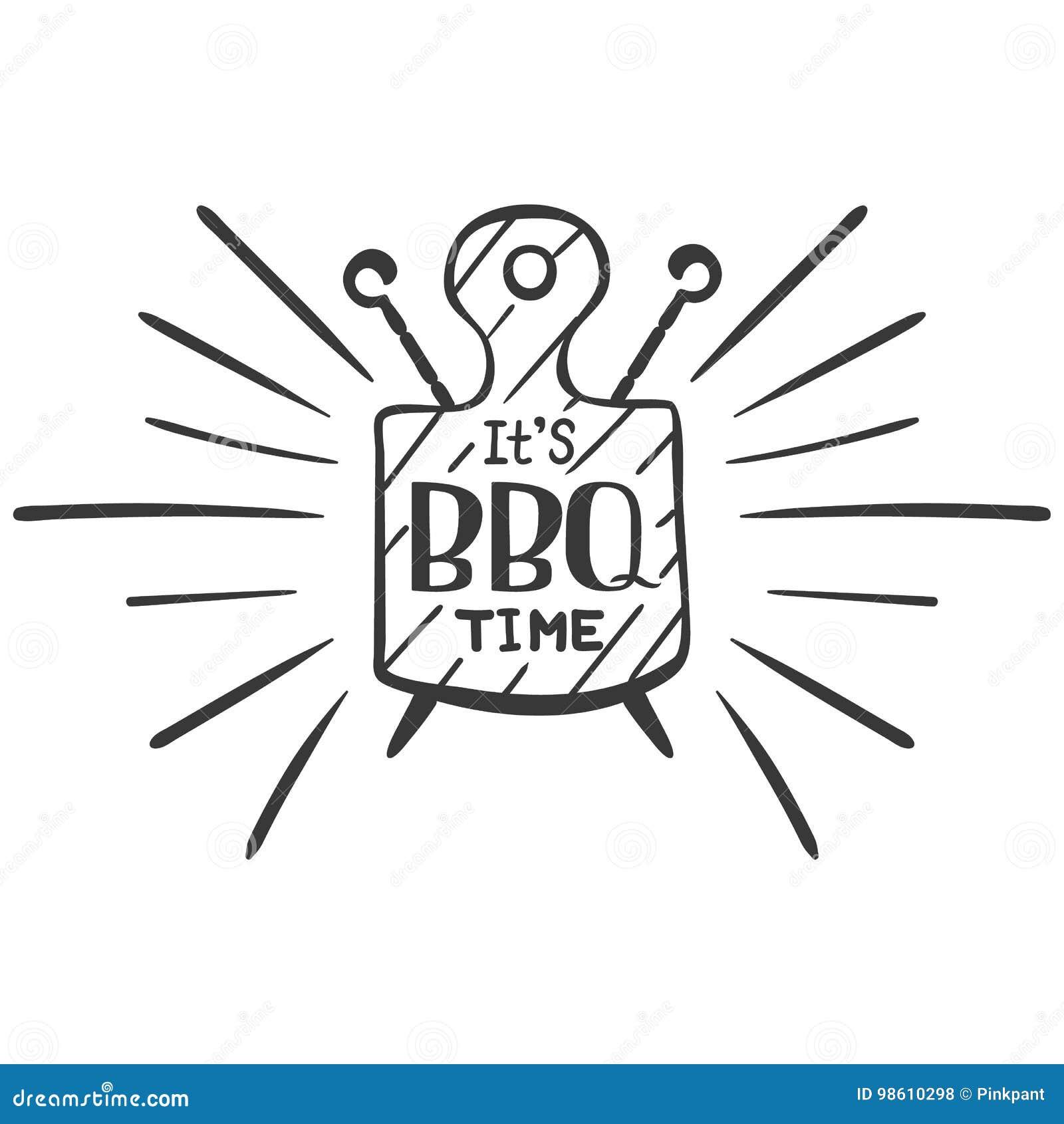 Ja jest bbq czasem Modnisia logo i emblemat restauracyjny grill na tle tnąca deska i skewers rabatowy bobek opuszczać dębowego fa