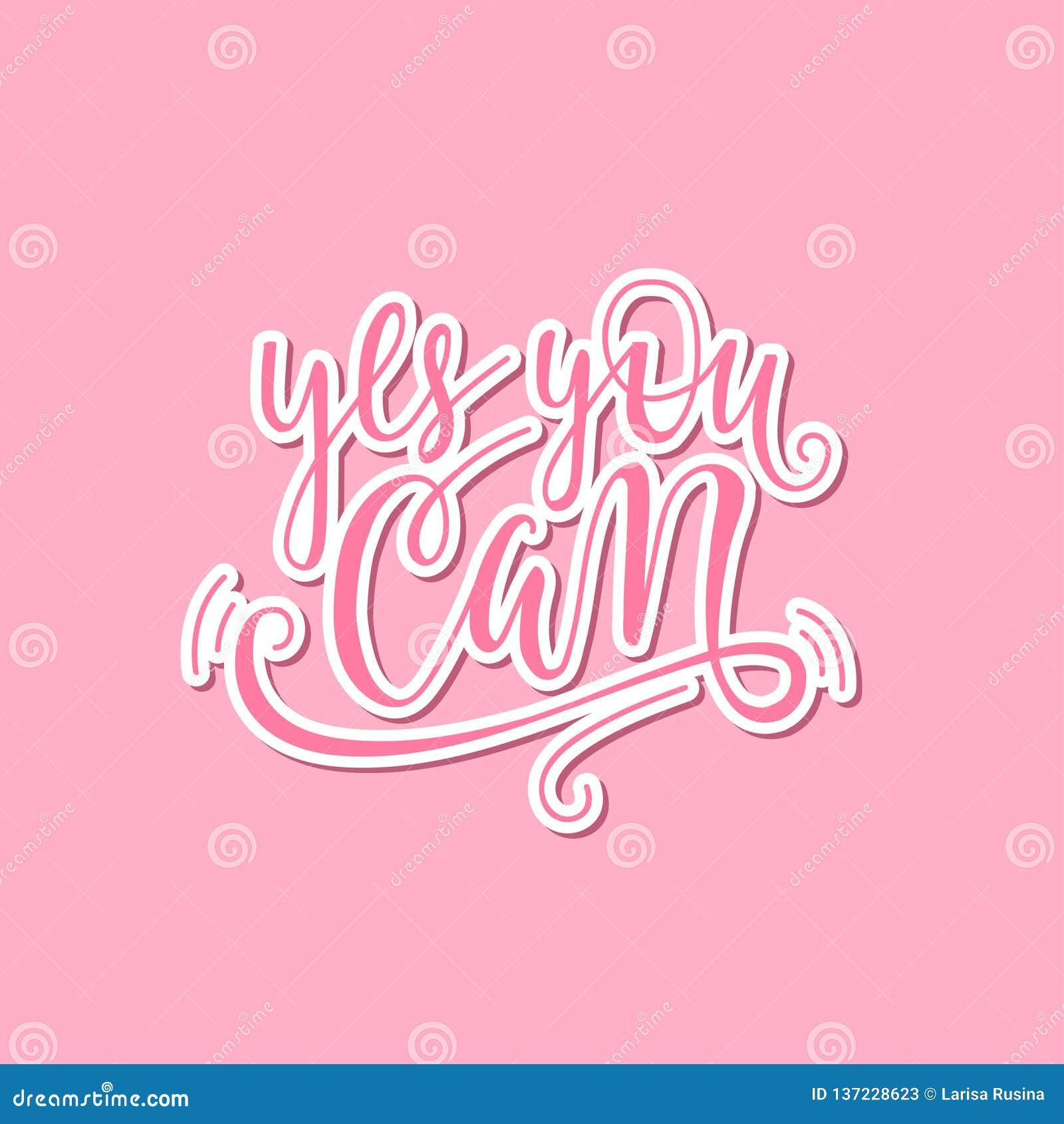 Ja kunt u het van letters voorzien uitdrukking overhandigen Positieve slogan De hand voorzag Citaat van letters