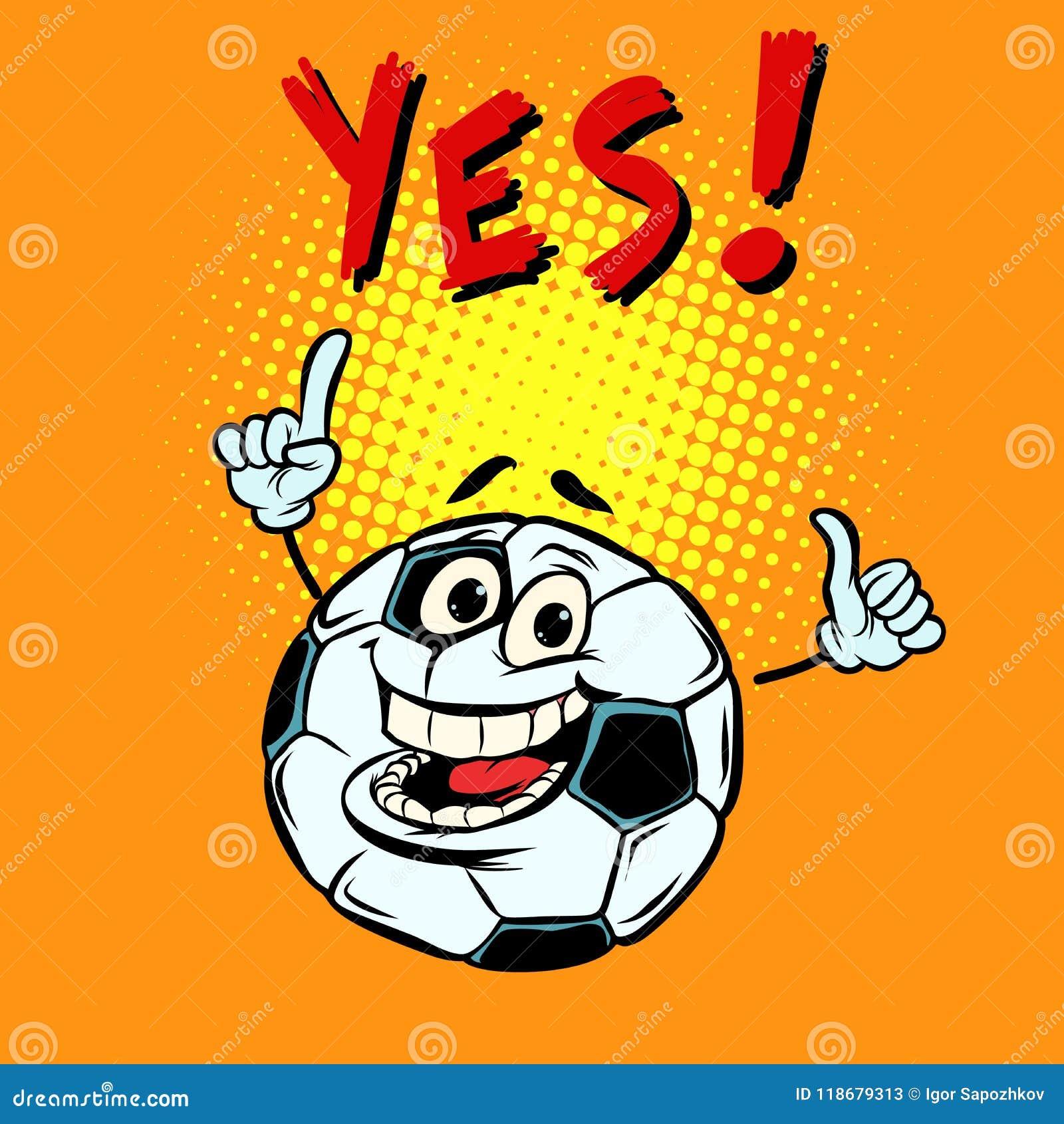 Ja lycklig fan Fotbollfotbollboll Roligt tecken