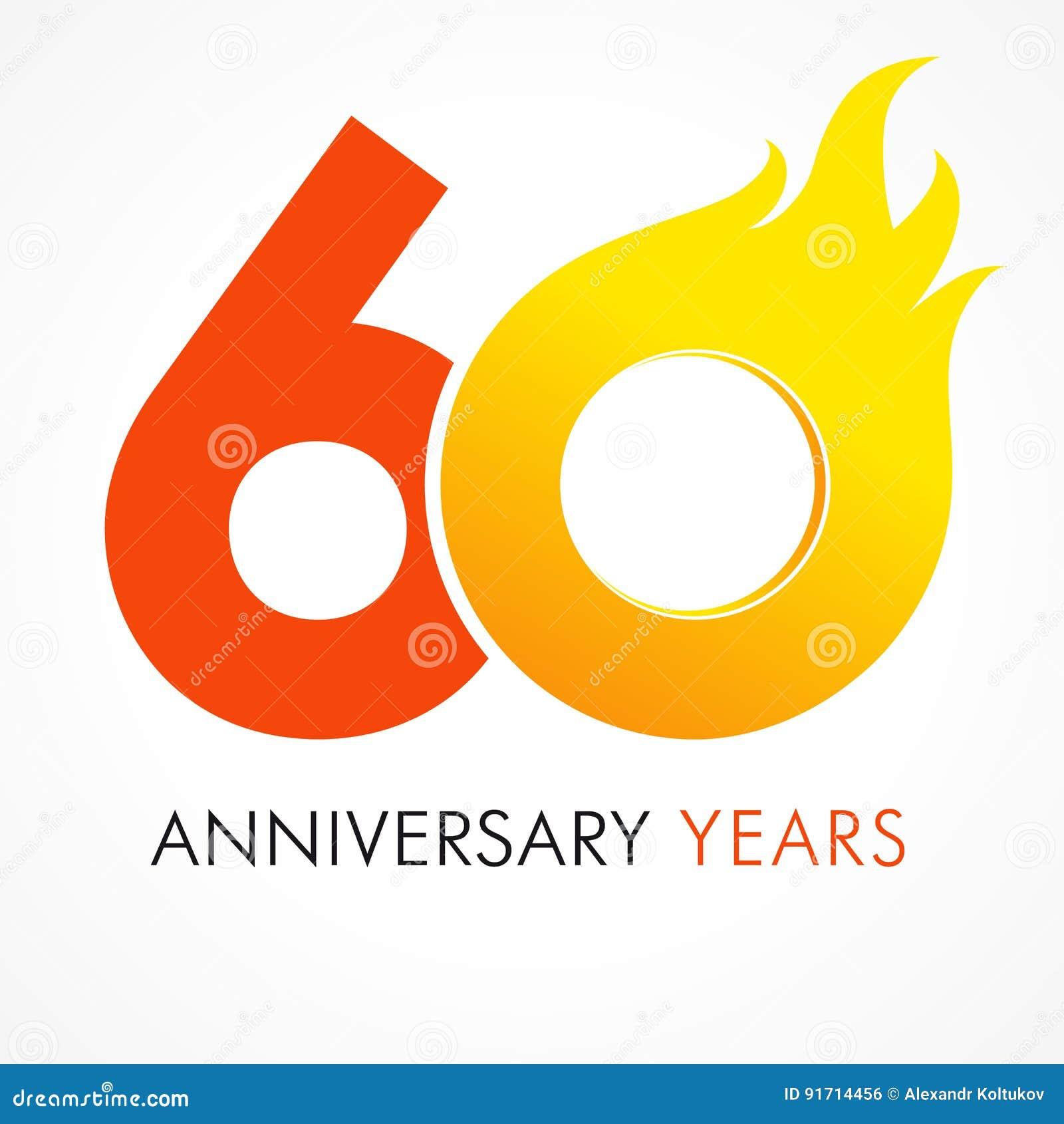 60 Jaar Oud Het Vieren Vurig Embleem Vector Illustratie