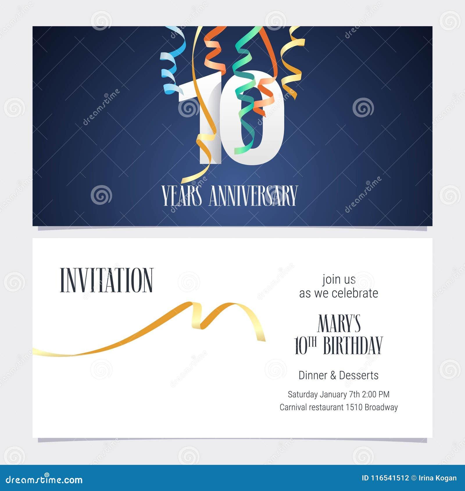 10 Jaar Van De Verjaardagsuitnodiging De Vector Vector Illustratie
