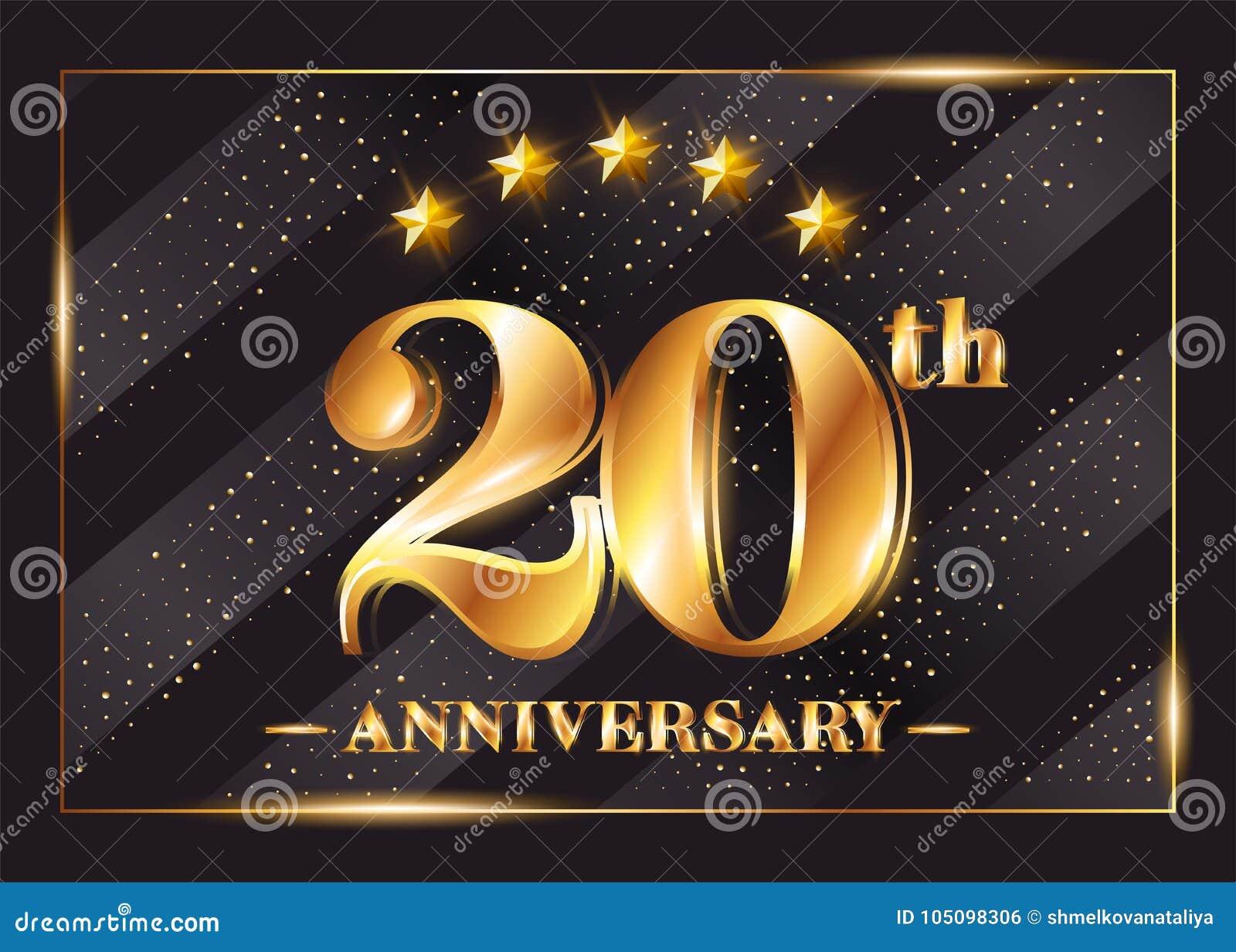 20 Jaar Van De Verjaardagsviering Het Vectorembleem 20ste Verjaardag