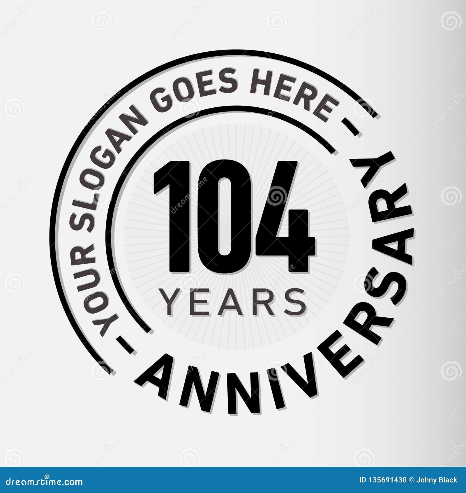 104 jaar van de Verjaardagsviering de Ontwerpsjabloon Verjaardagsvector en illustratie 104 jaar embleem