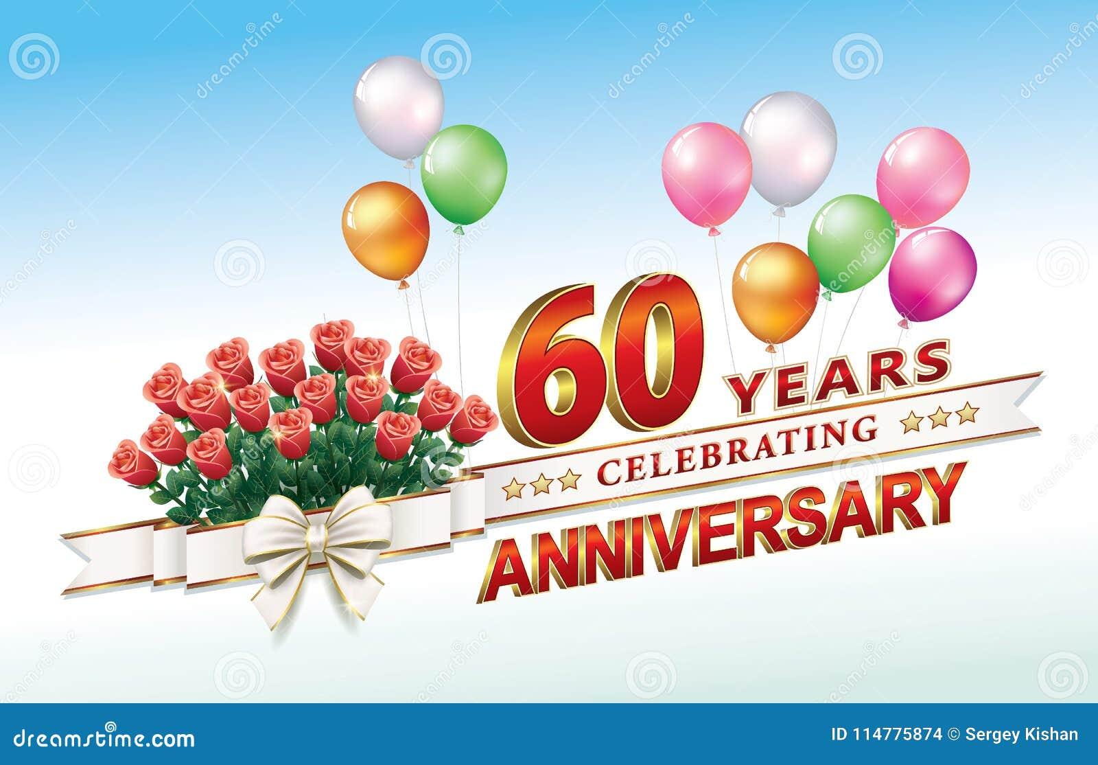 60 Jaar Verjaardags Vector Illustratie Illustratie Bestaande Uit