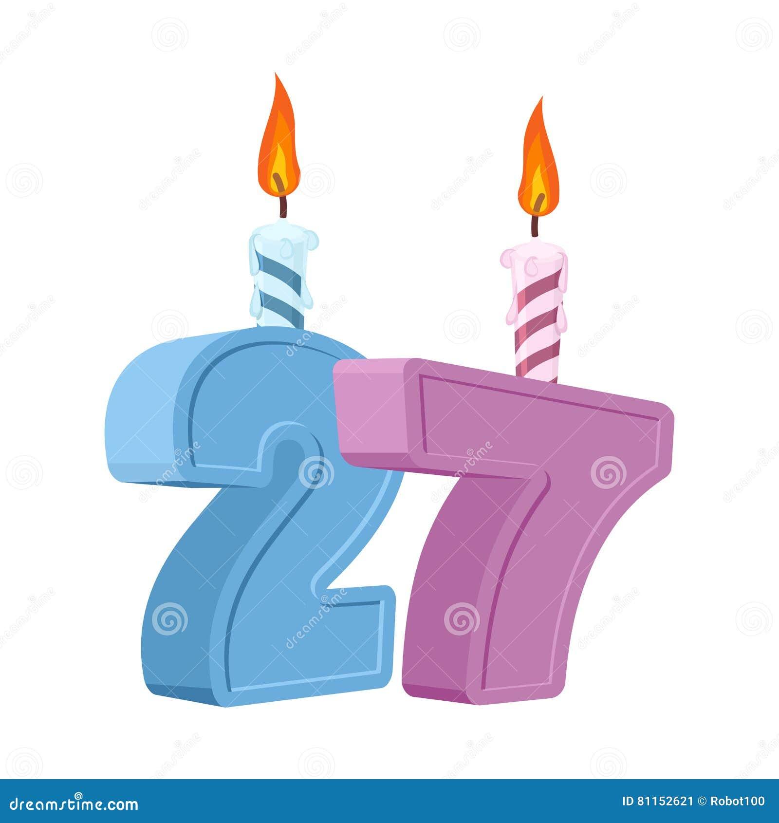 27 Jaar Verjaardags Aantal Met Feestelijke Kaars Voor Vakantiecake