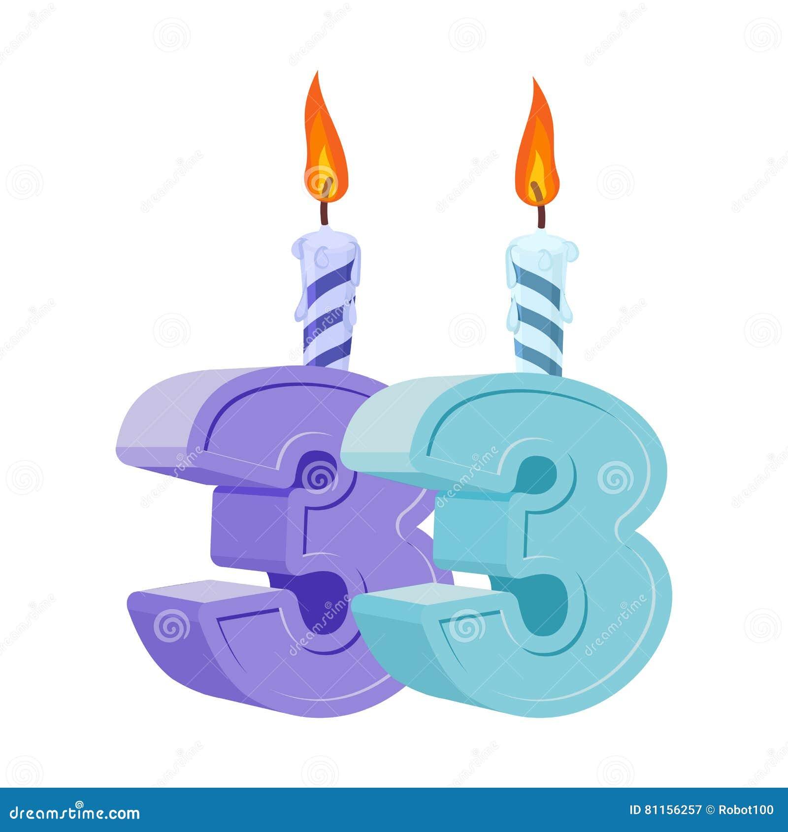 33 Jaar Verjaardags Aantal Met Feestelijke Kaars Voor Vakantiecake